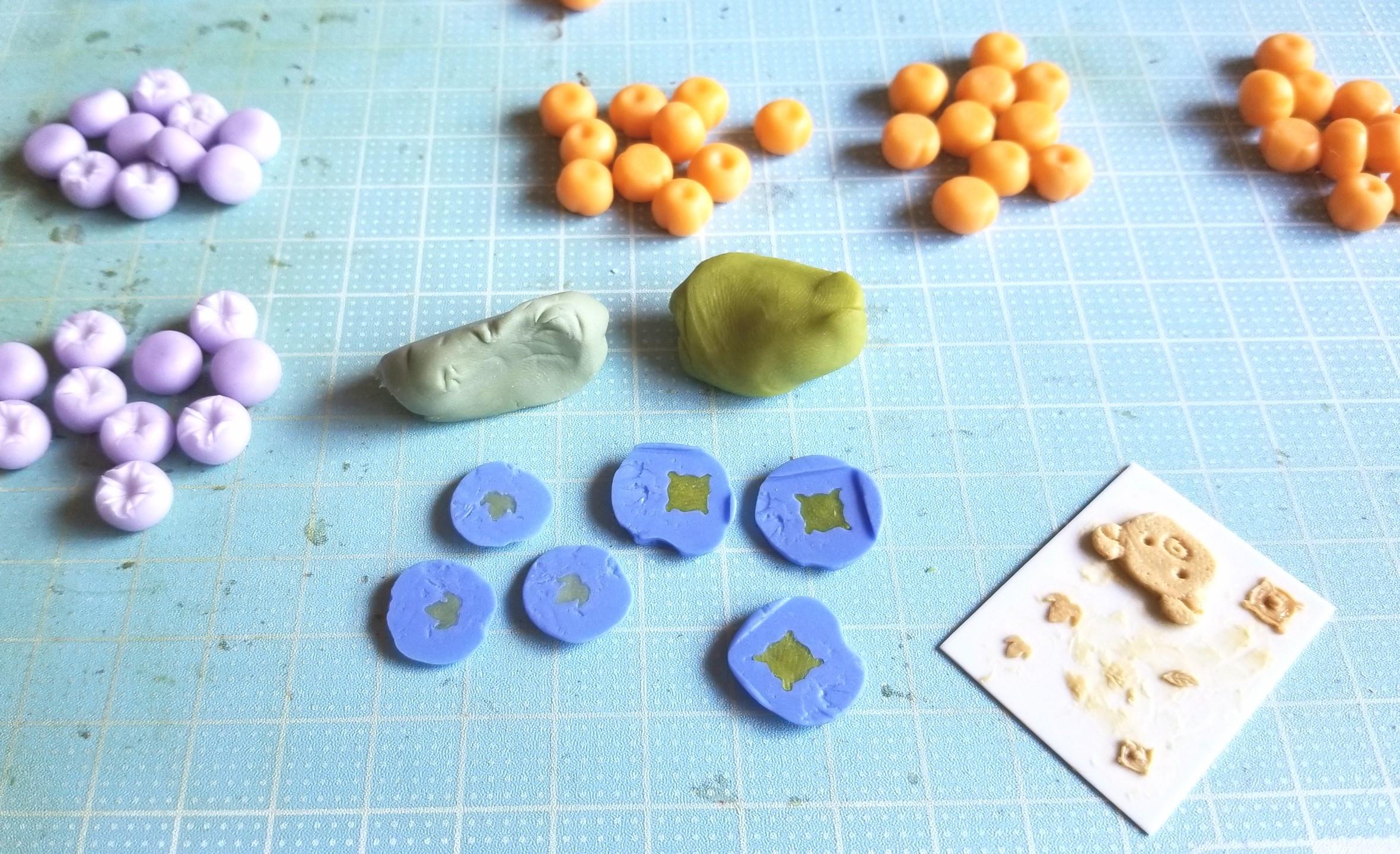 ミニチュアフード,葉っぱ,和菓子,柿,朝顔,作り方,樹脂粘土,複製