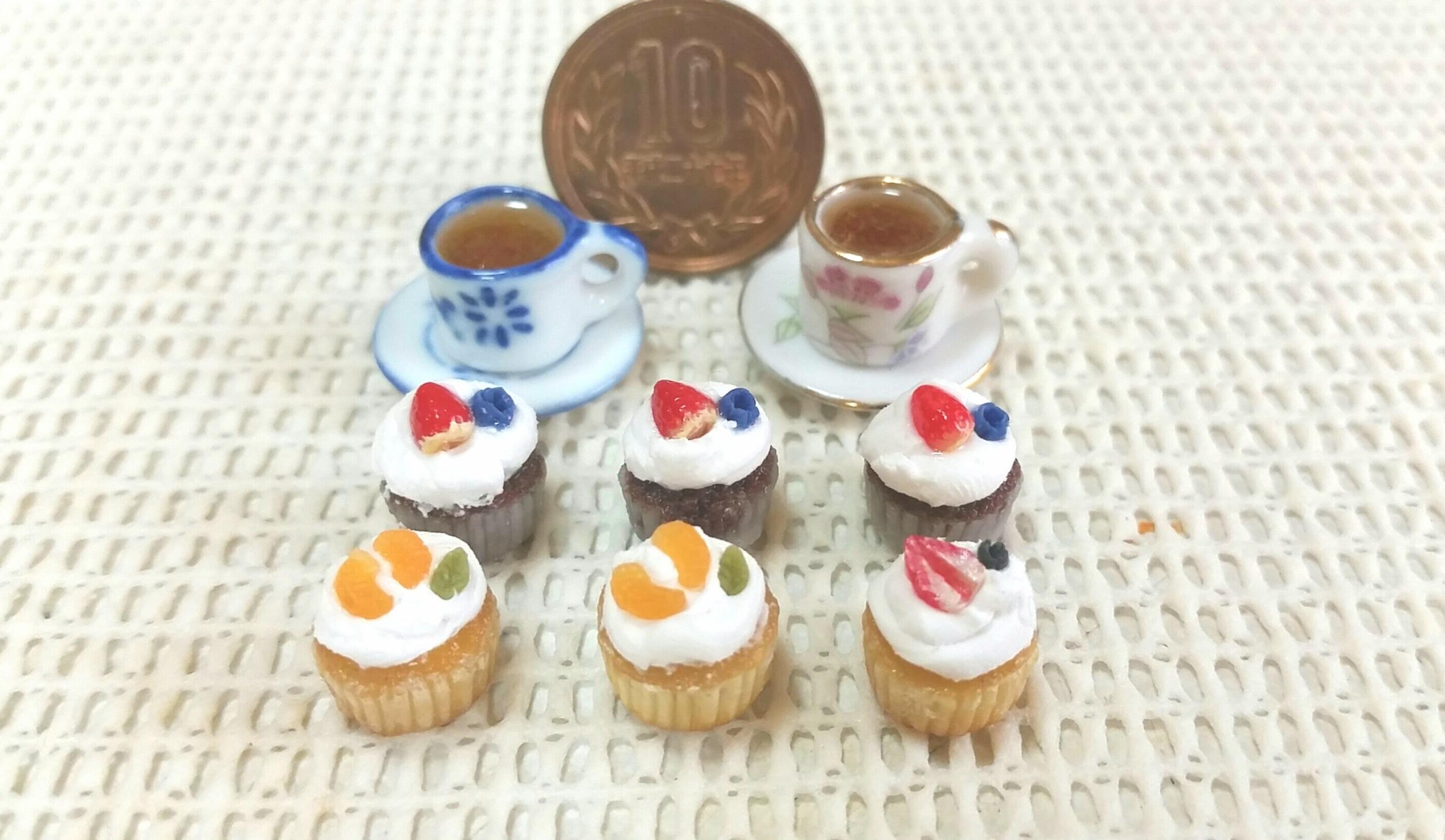 かわいい小さな小さい,おしゃれなカップケーキ,ドール用小物ブログ