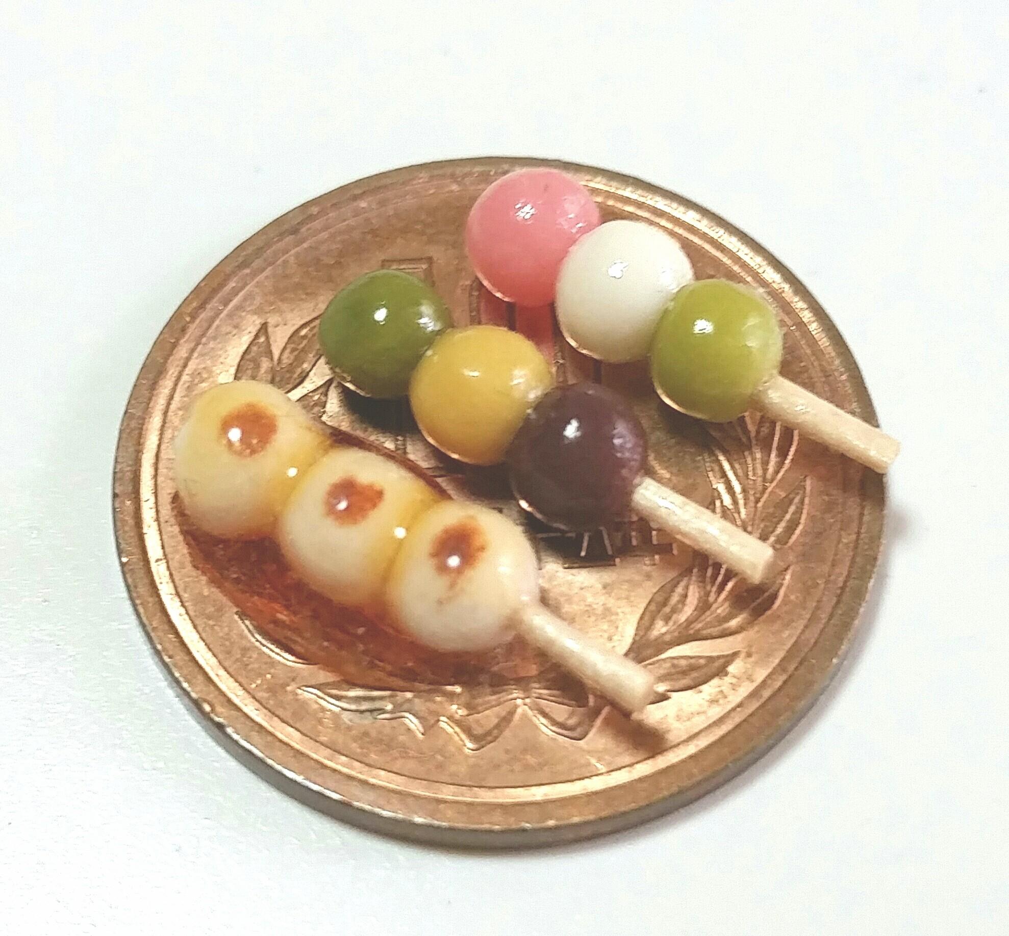 ミニチュアフード,みたらし,三色,坊っちゃん団子,和菓子,樹脂粘土