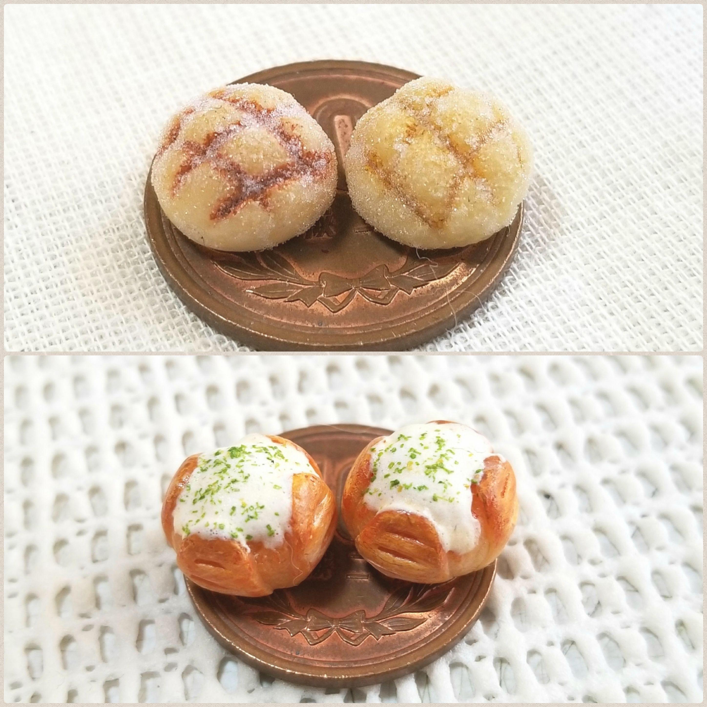 ミニチュアフードブログ,メロンパン,チーズパン,ドール小物おもちゃ
