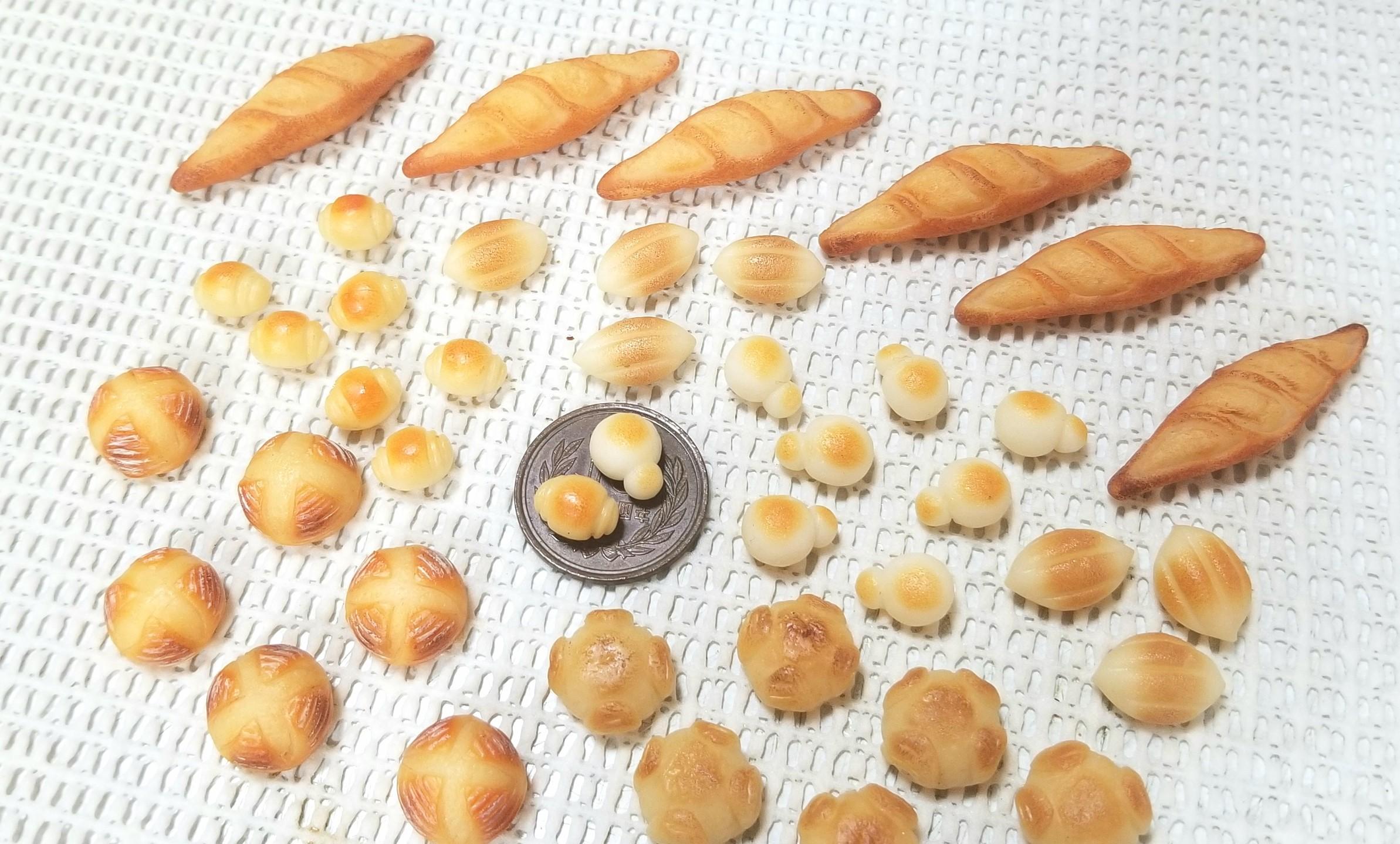 ミニチュア,パン,樹脂粘土,ドール,バケット,バターロール,サンプル