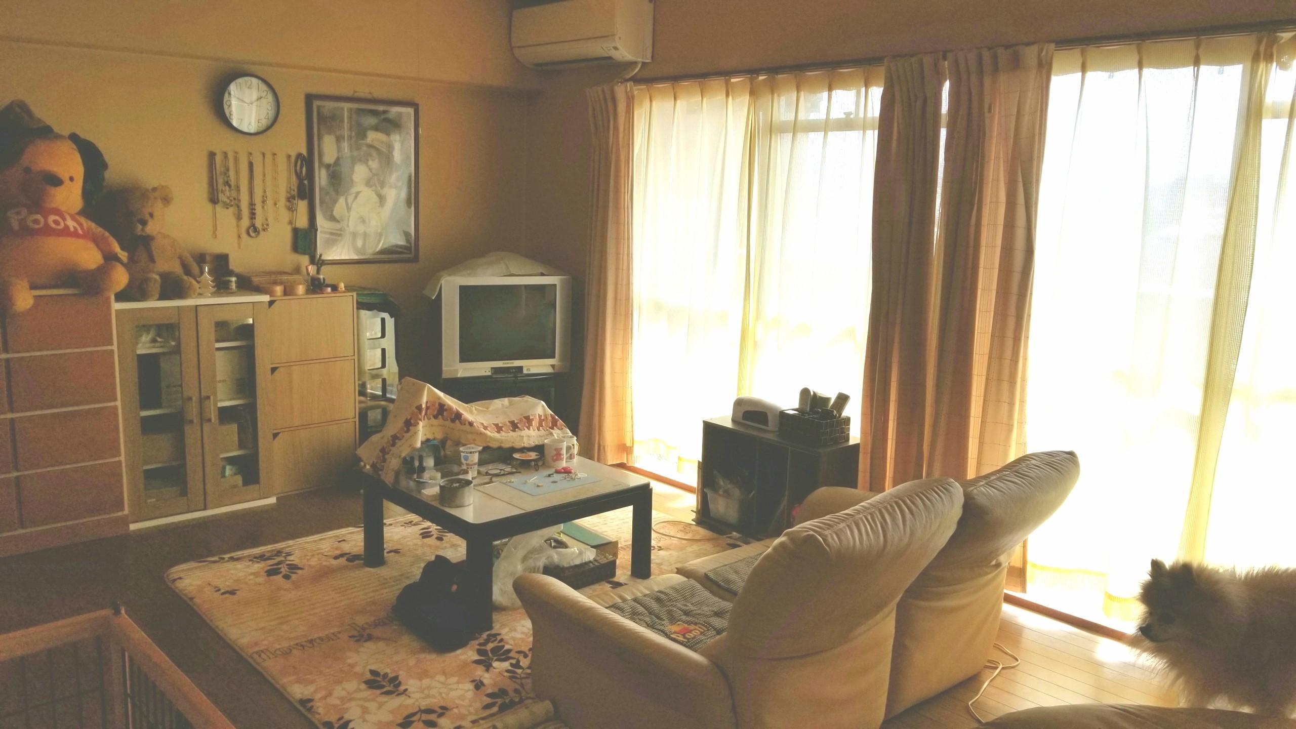 女子の部屋,ワンルーム模様替え,大掃除綺麗,ベージュで統一感のある