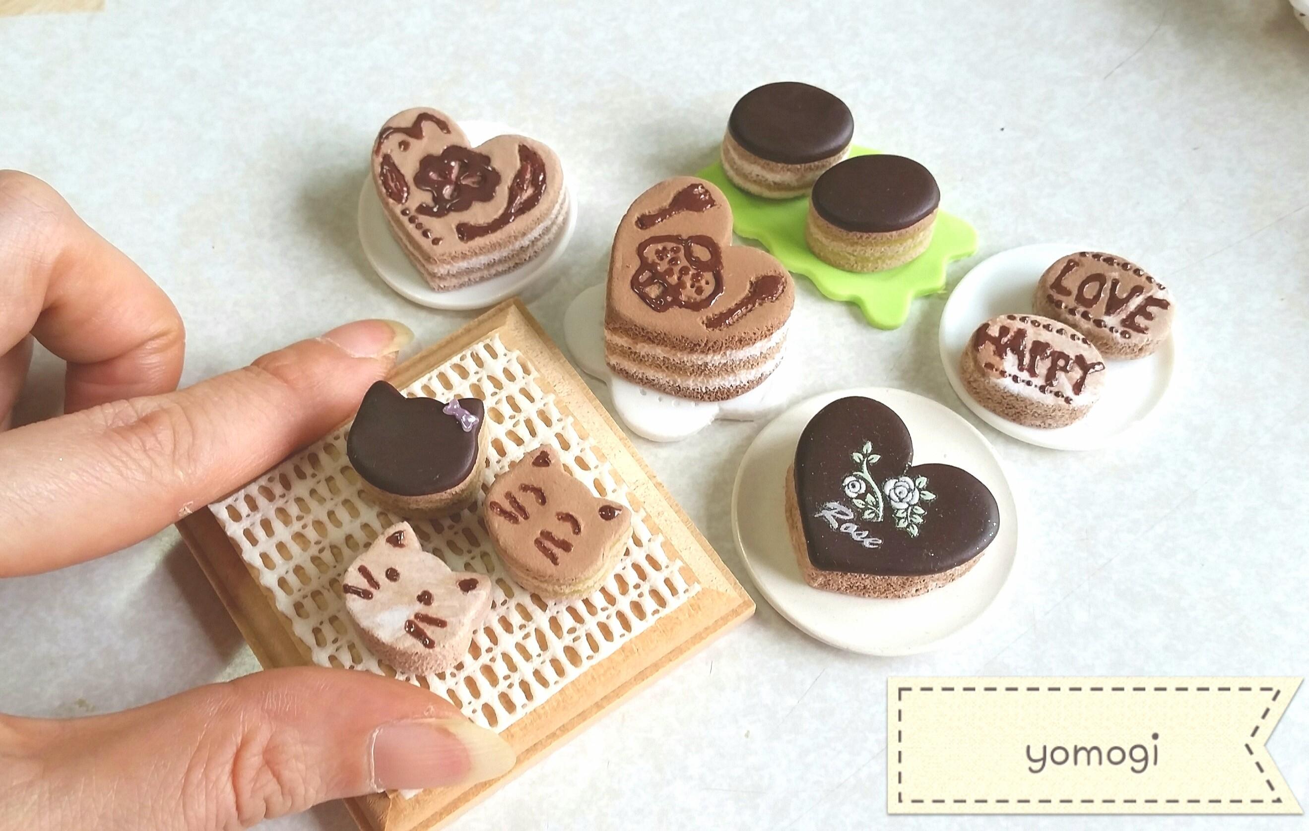 ミニチュアフード,かわいいチョコレートケーキ,紙樹脂粘土,スイーツ