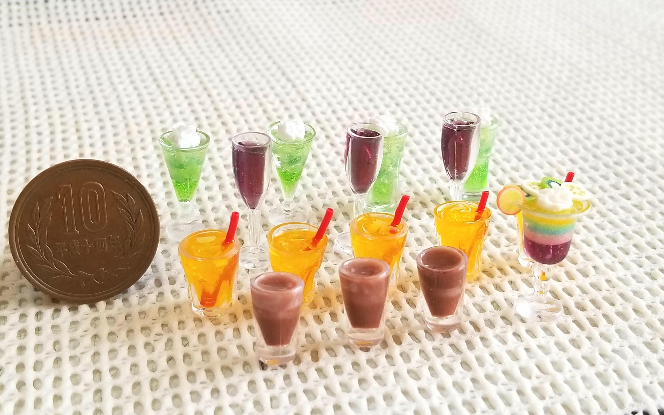 ミニチュアフード,ドリンク,ジュース,飲み物,UVレジン,食品サンプル