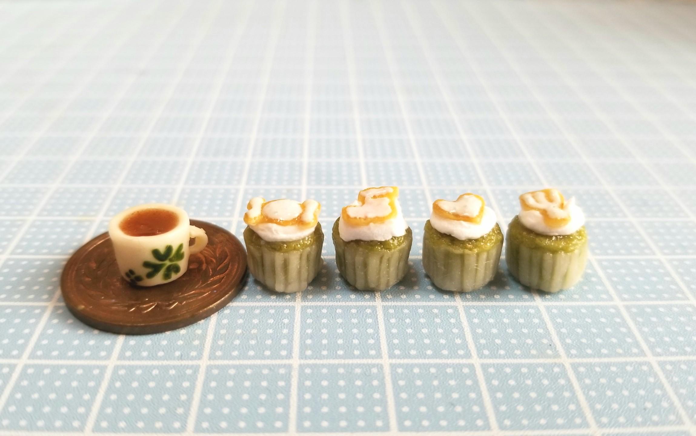 ミニチュアフード,抹茶,カップケーキ,樹脂粘土,食品サンプル,オビツ