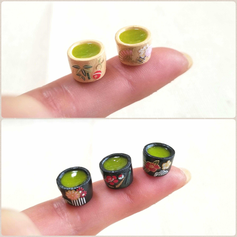 思わず飲みたくなるお抹茶,お緑茶,和柄風,リアルなミニチュアフード