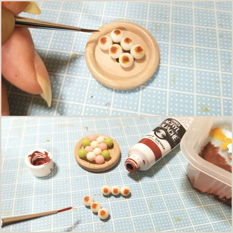 ミニチュアフード,和菓子みたらし団子の作り方,樹脂粘土,かわいい