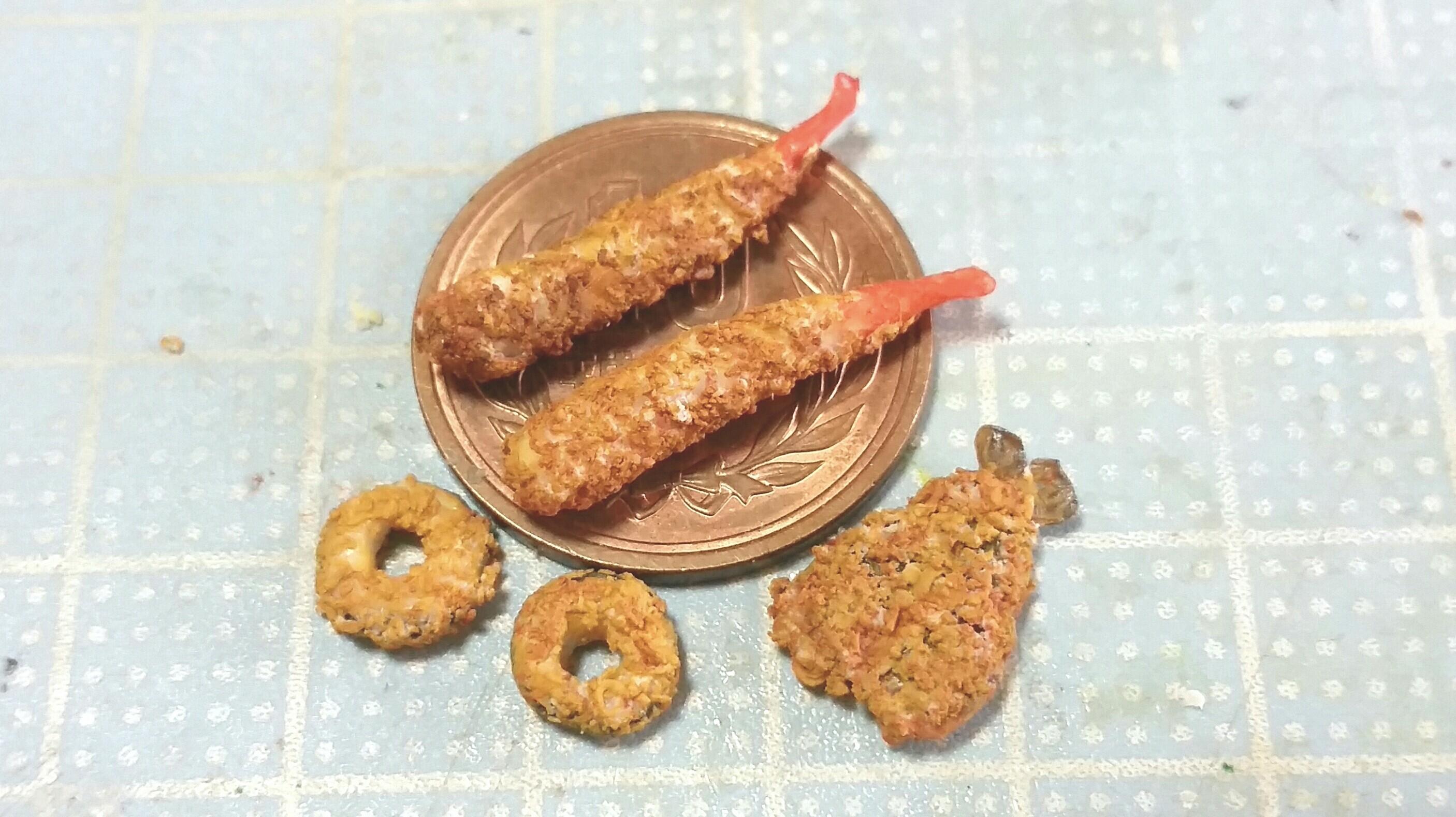 ミニチュアフード,アジ,イカ,エビフライ,揚げ物,樹脂粘土,人気作り方