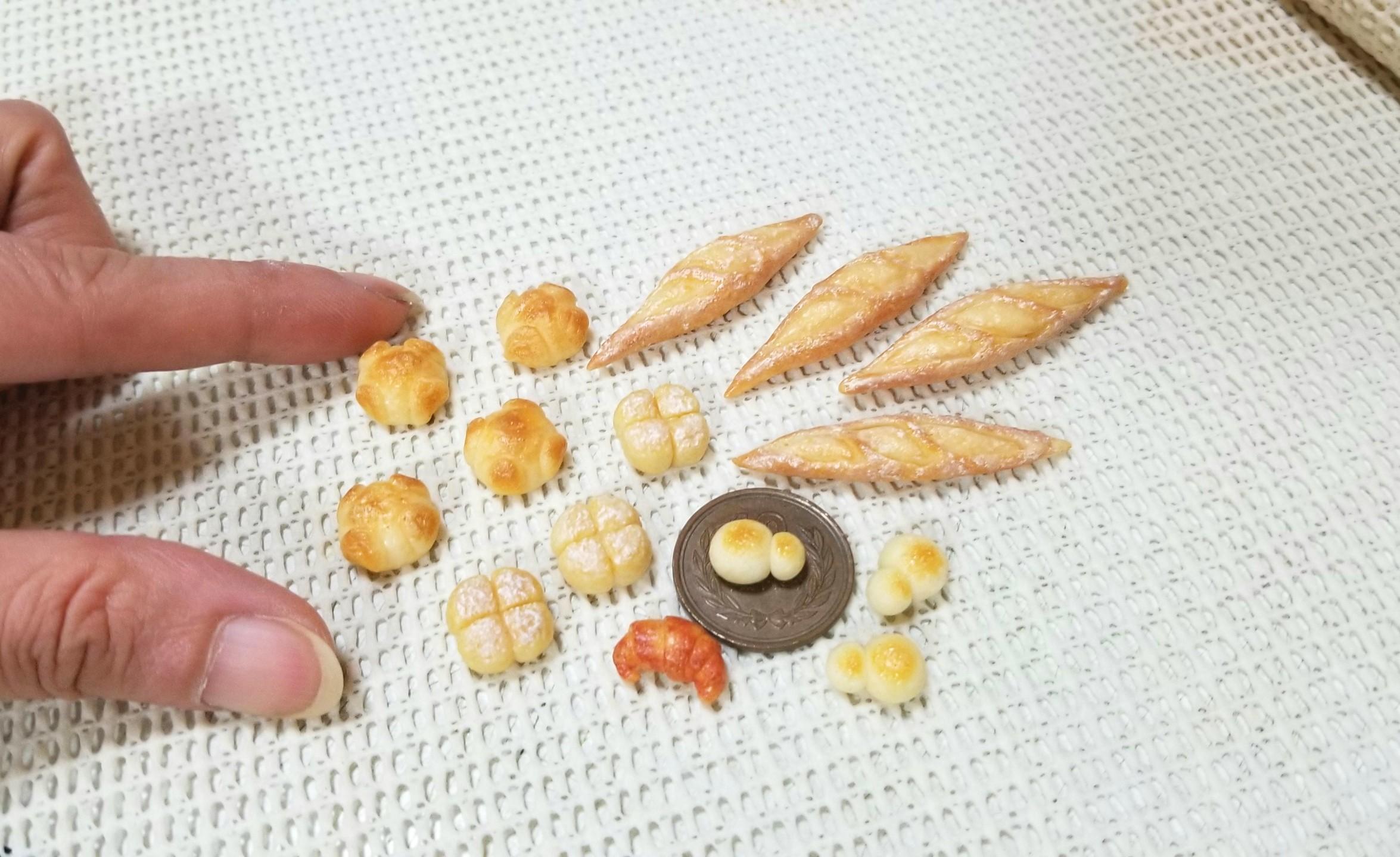 ミニチュアフード,パン,樹脂粘土,ミンネ,オーダーメイド,ドール