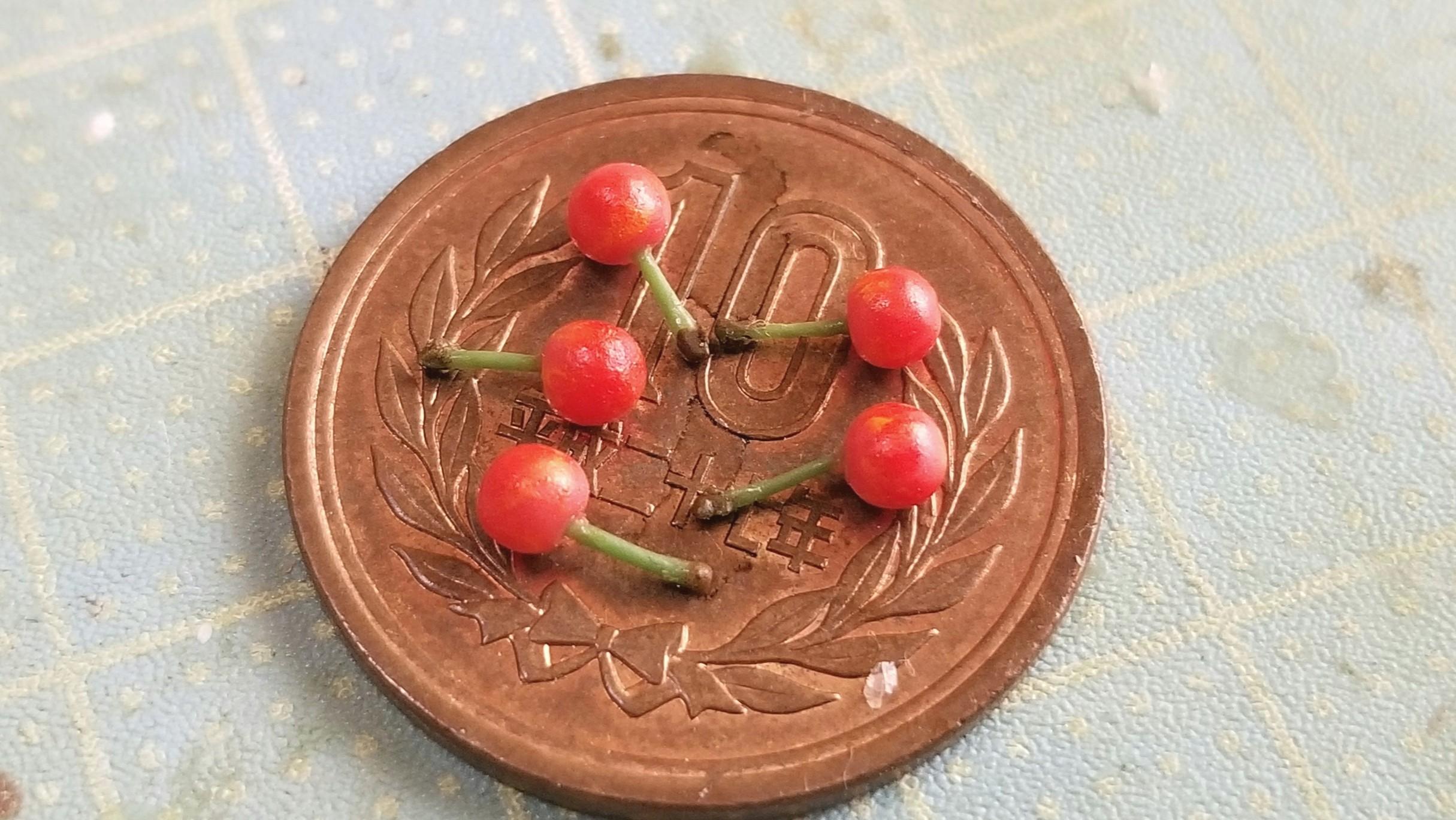 チェリー,さくらんぼの作り方,樹脂粘土,ミニチュアフード,ドール用品