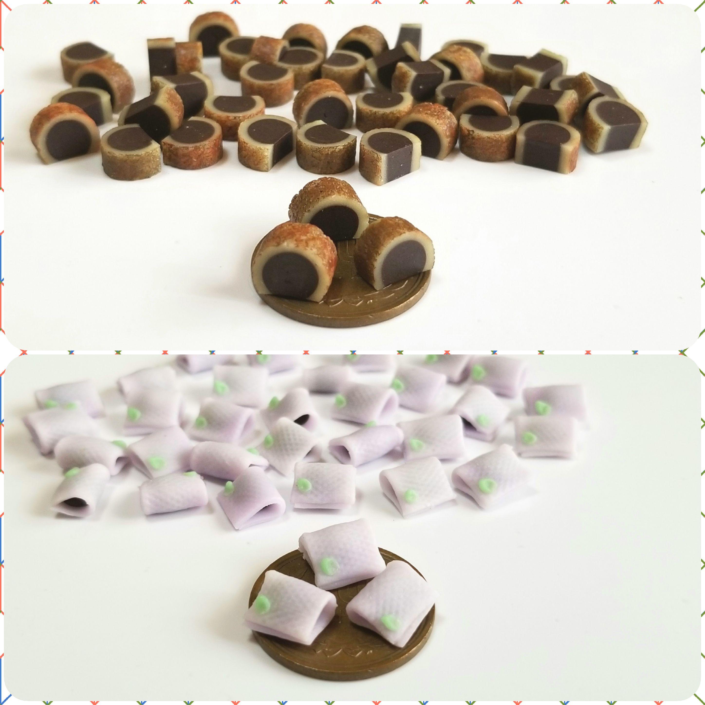 ミニチュアフード,和菓子,半月とら焼き,生,樹脂粘土,フェイクフード