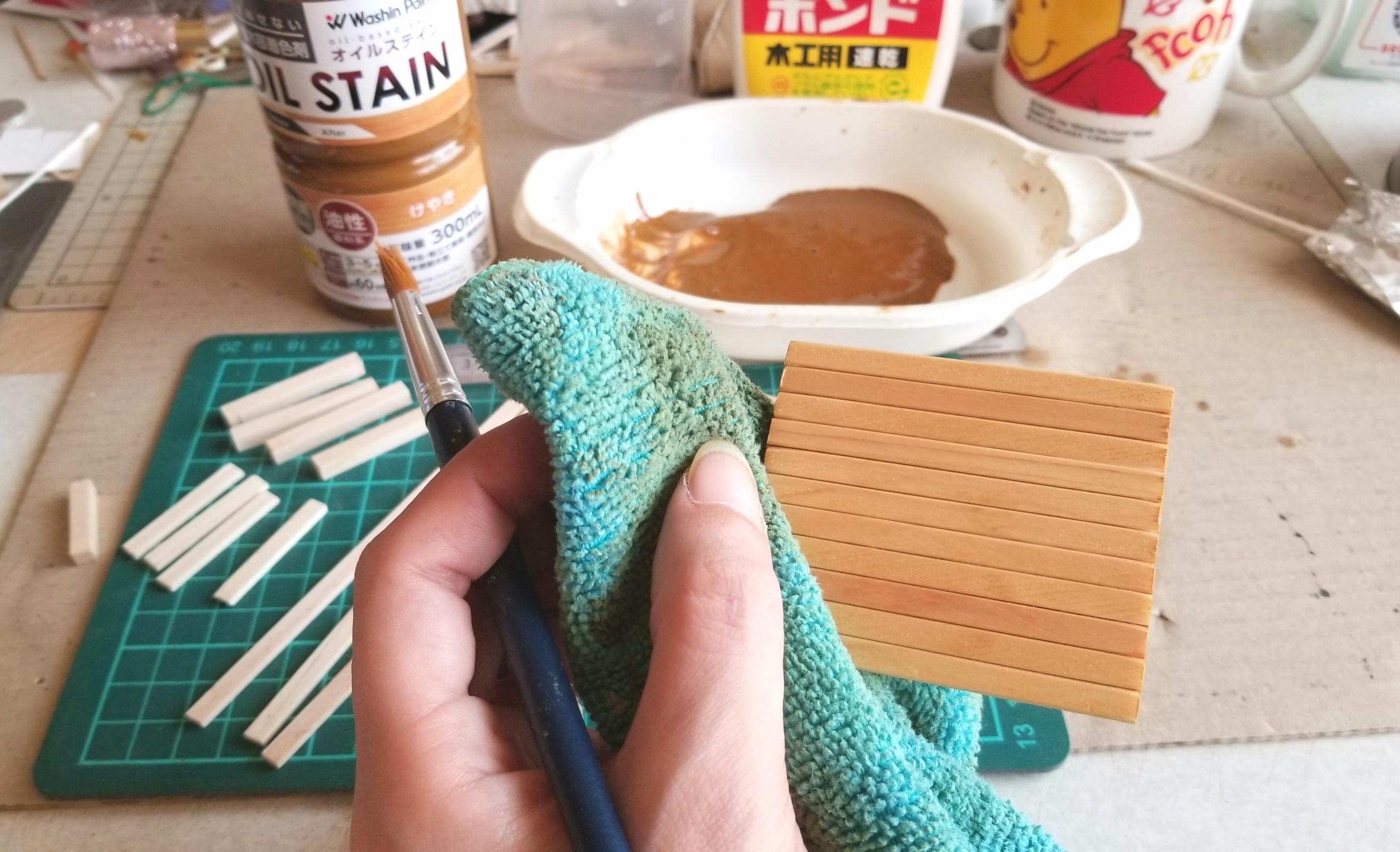ミニチュアフード,長椅子,テーブル,和菓子屋,作り方,オイルステイン