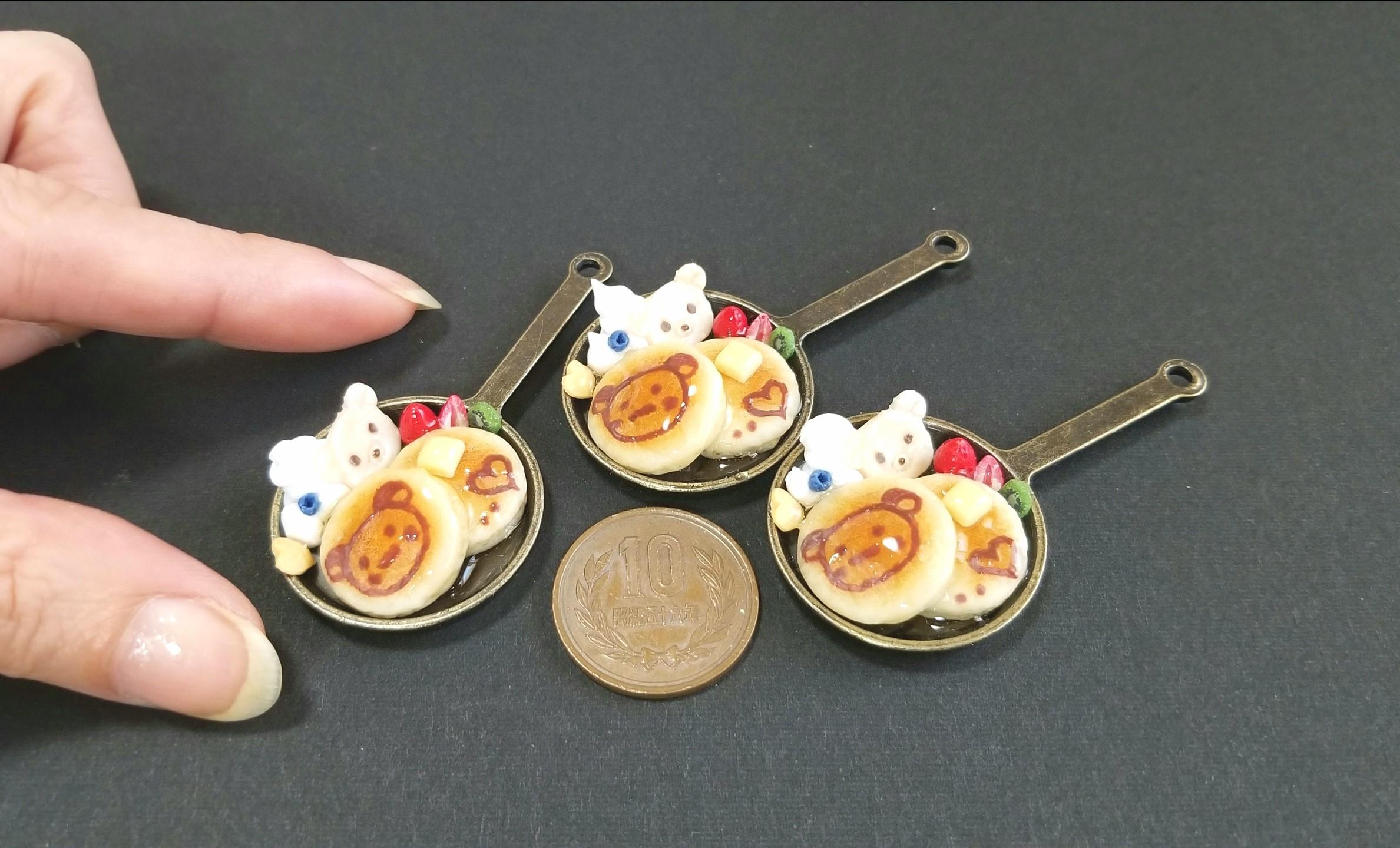 ミニチュアフード,クマちゃんのホットケーキ,食品サンプル,樹脂粘土