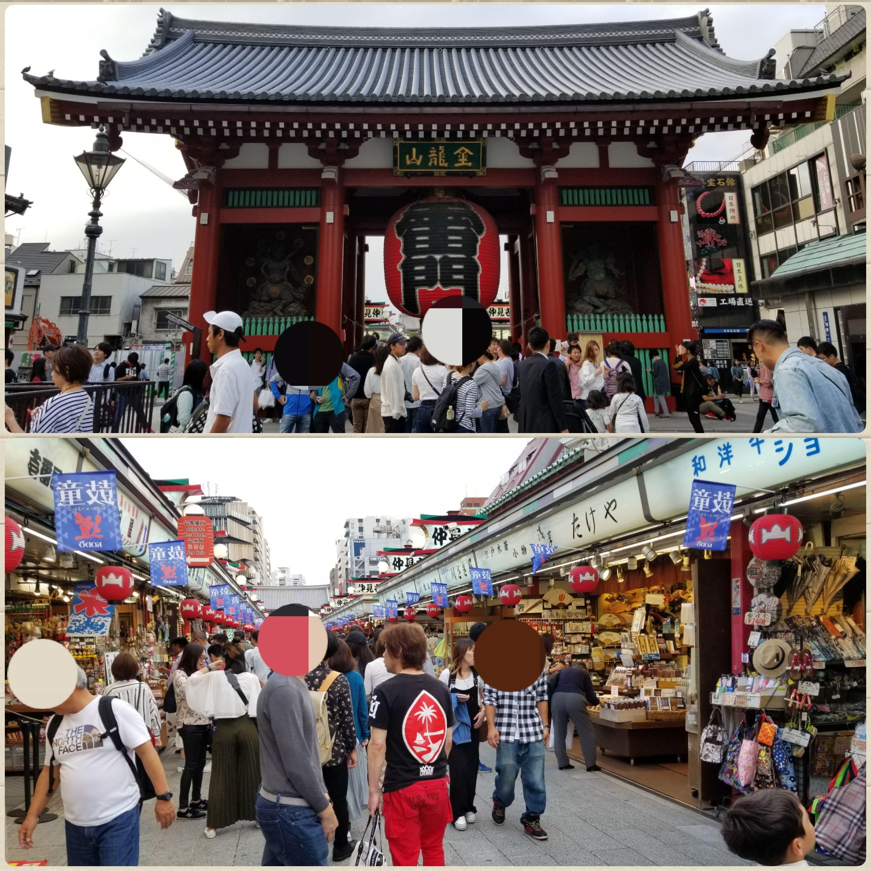 東京浅草,雷門,風神雷神,外国人観光客でいっぱい,人形焼き,雷おこし
