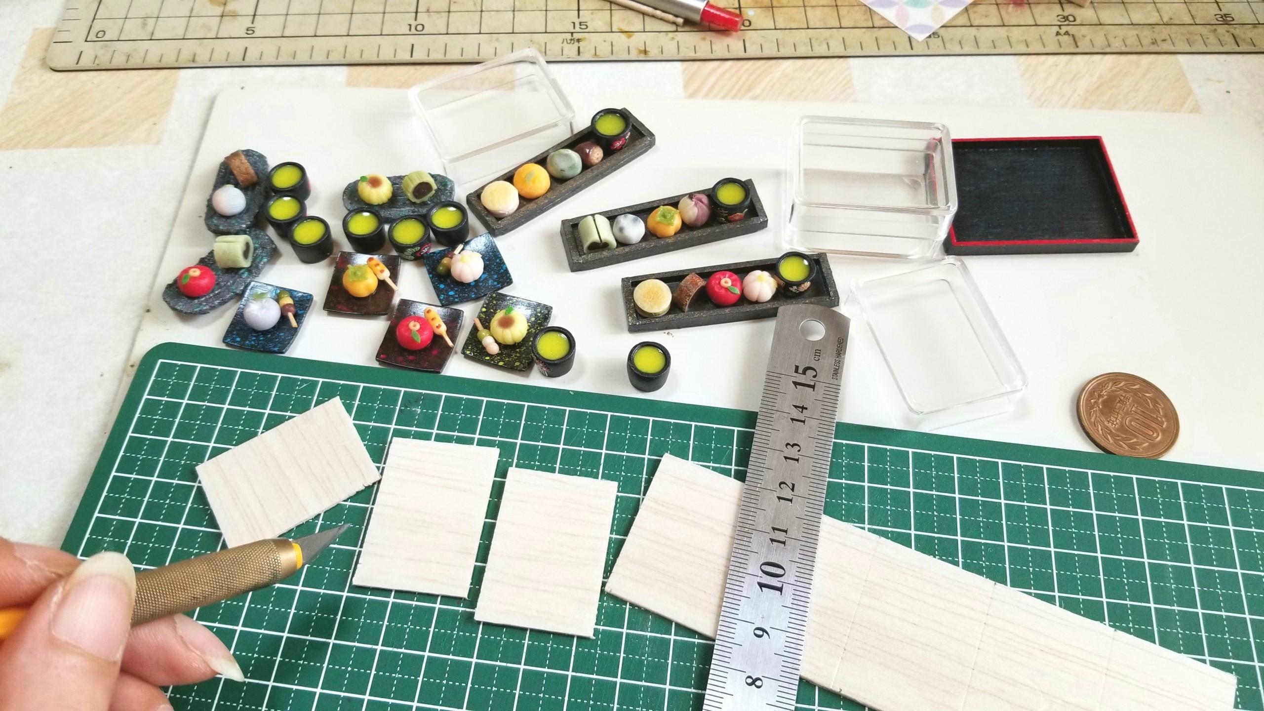 和菓子,台紙,土台,作り方,クリアケース,ミニチュアフード,バルサ材