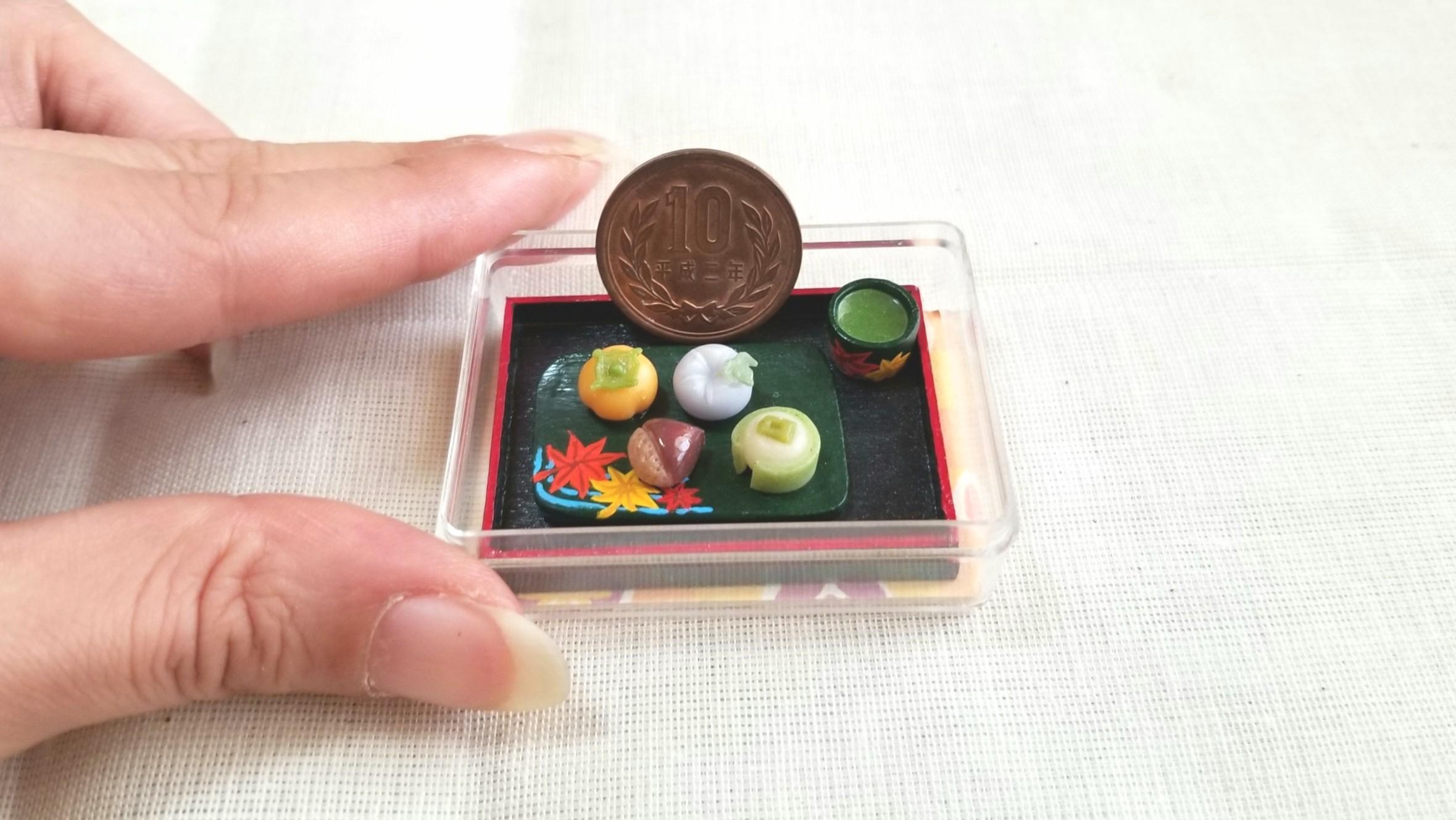 和菓子,栗まんじゅう,紅葉,ミニチュアフード,樹脂粘土,ドール用小物