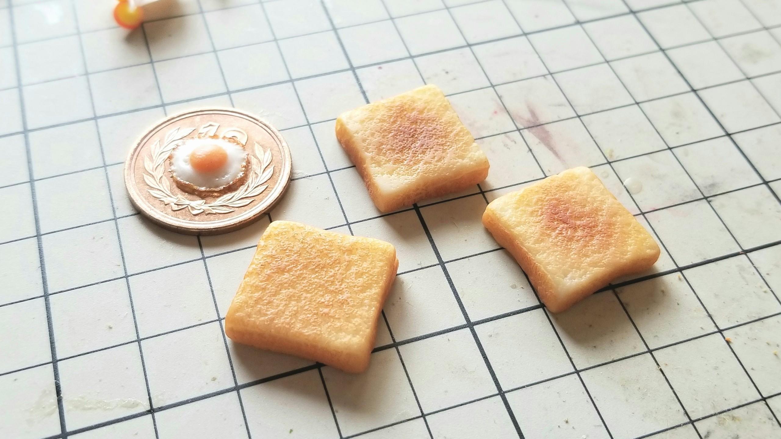 ミニチュアフードパントースト目玉焼き樹脂粘土作り方よもぎブログ