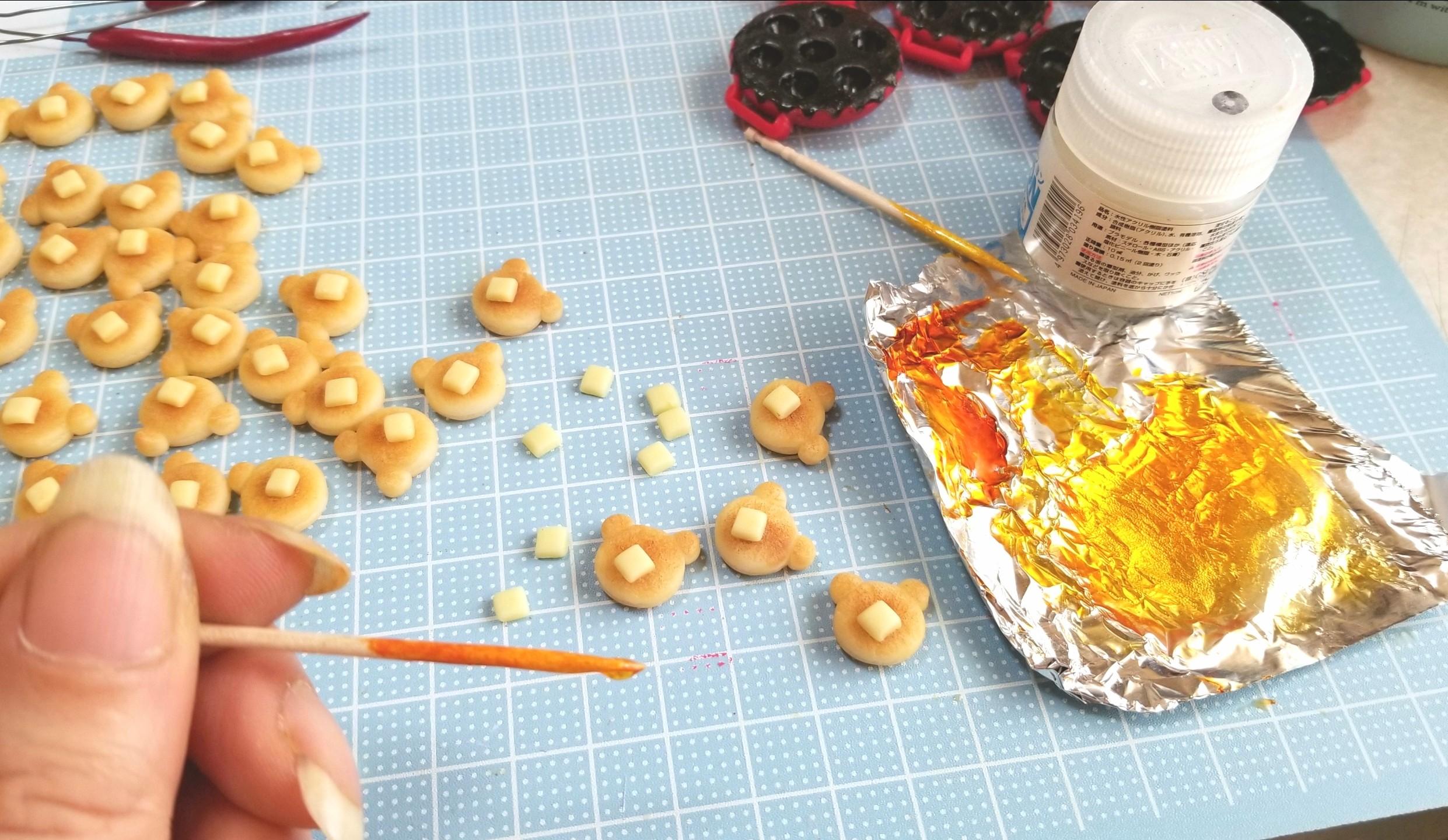 作り方,クマ,ホットケーキ,樹脂粘土,ミニチュア,はちみつ,バター