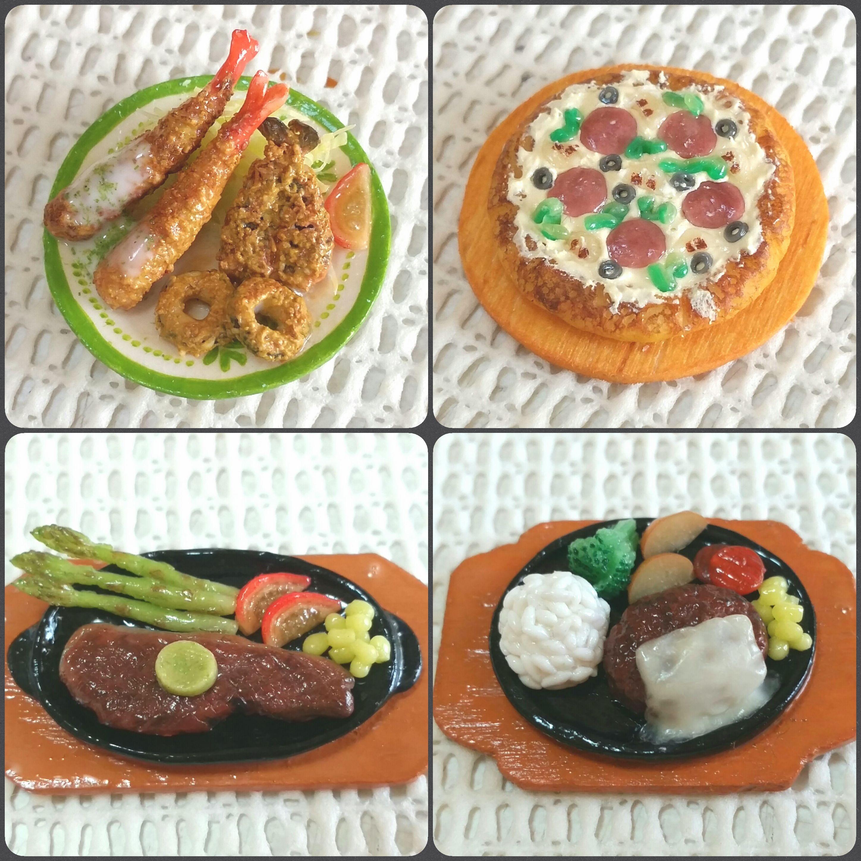 ミニチュアフード,樹脂粘土,フライ,ピザ,ステーキ,ハンバーグ,食玩