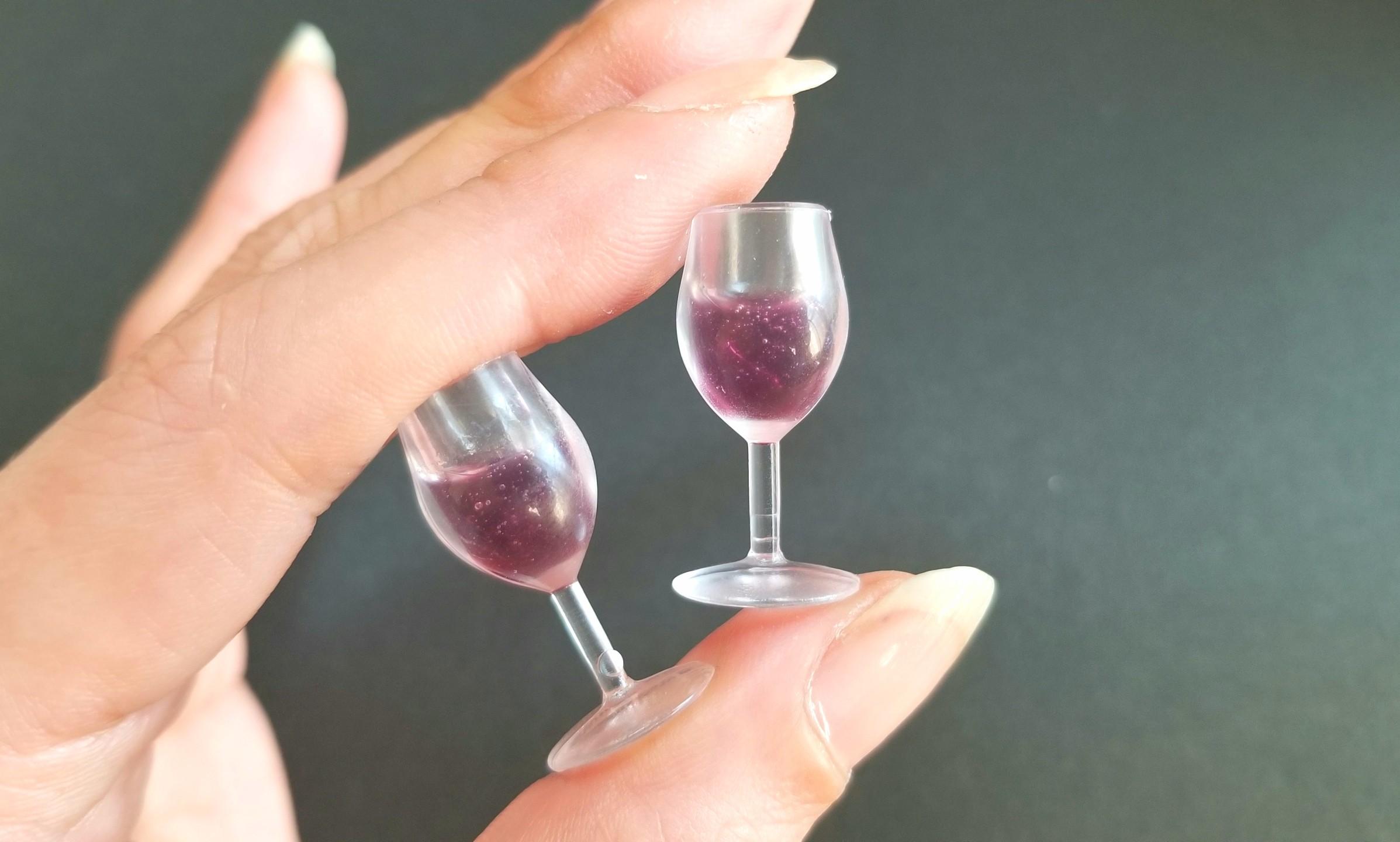 ミニチュアフード,シャンパン,赤ワイン,UVレジン,ドールハウス