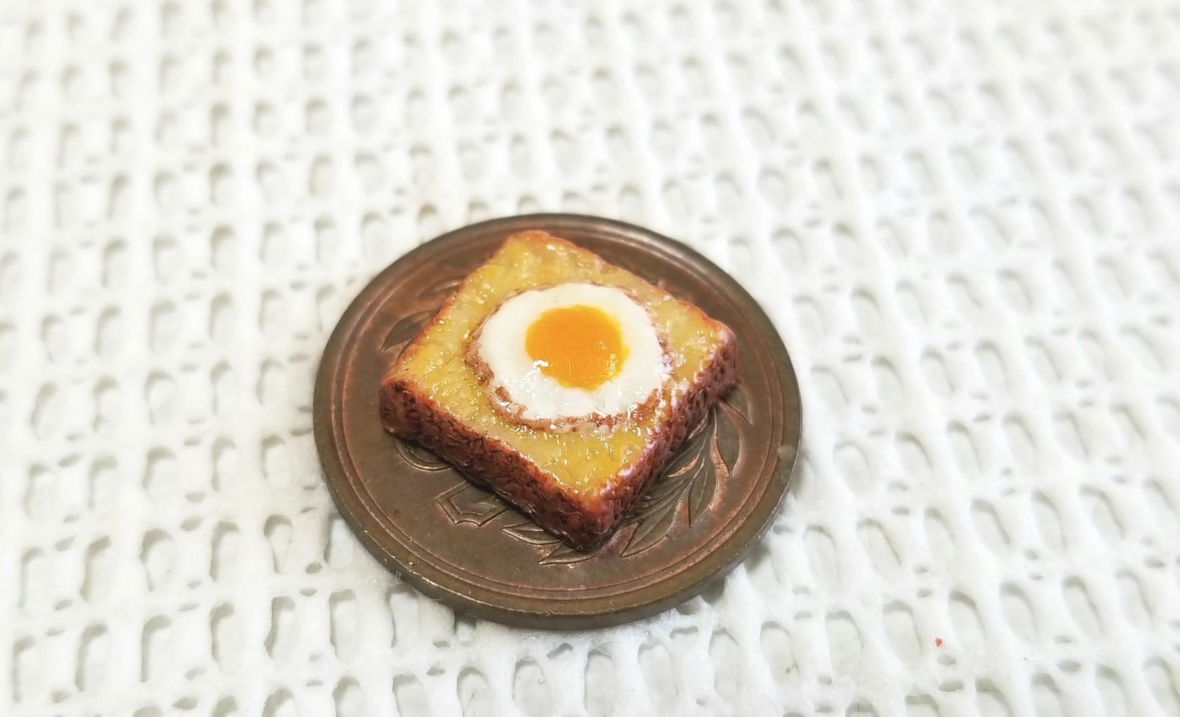 ミニチュア, 目玉焼きトースト, 食パン, 樹脂粘土, ハンドメイド
