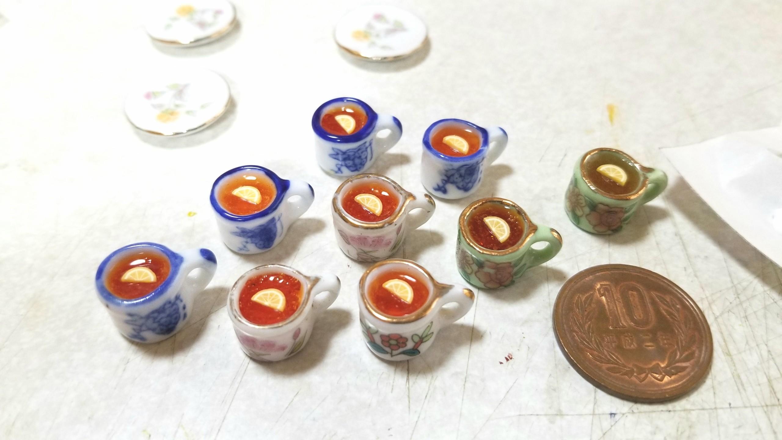 レモンティー,紅茶,ミニチュア,レジン,陶器,ティーカップ,ミンネ販売