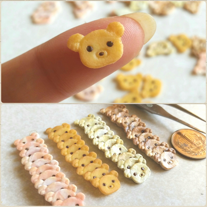 樹脂粘土,ミニチュアフード,小さい,可愛い,くまちゃんクッキー,食玩
