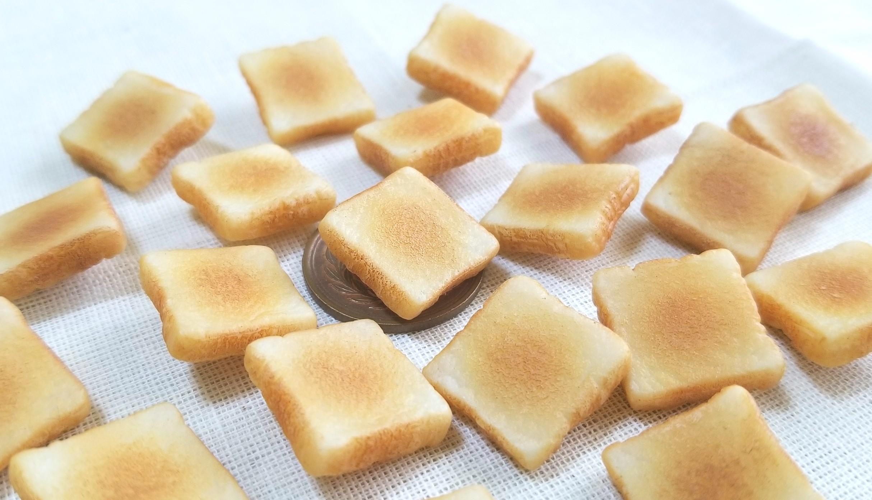 サクサクトースト,ミニチュア食パン,粘土細工,ハンドメイド,パン