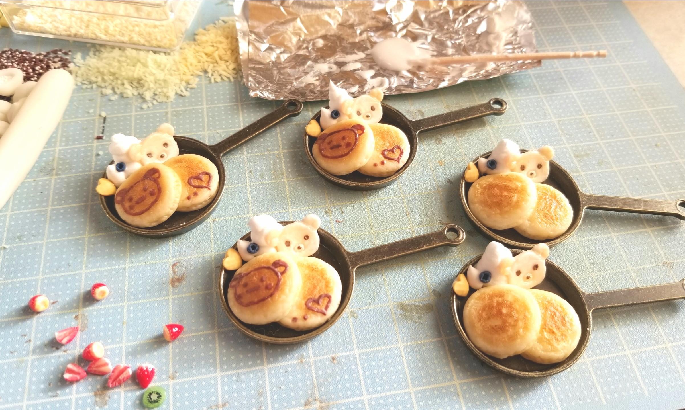 ミニチュアフード,クマちゃんホットケーキの作り方,食品サンプル