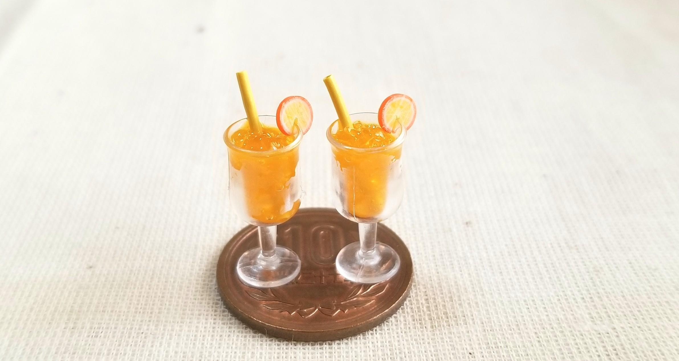 オレンジジュース,ミニチュアフード,レジン,ねんどろ刀剣男士,人形