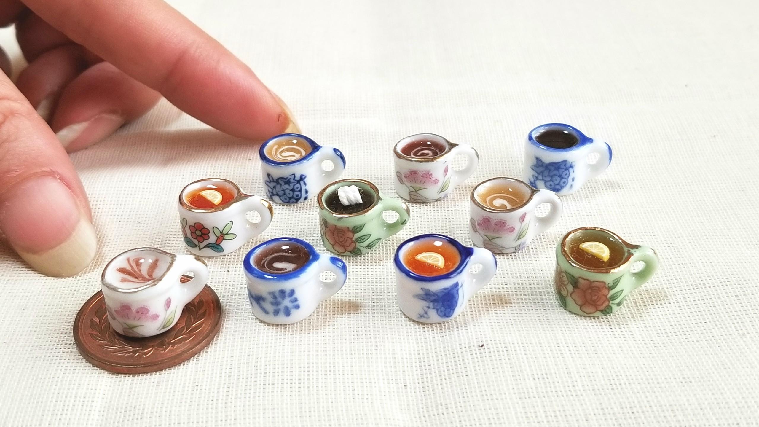 ミニチュア,陶器のティーカップ,レジン,ドリンク,ジュース,ミンネ