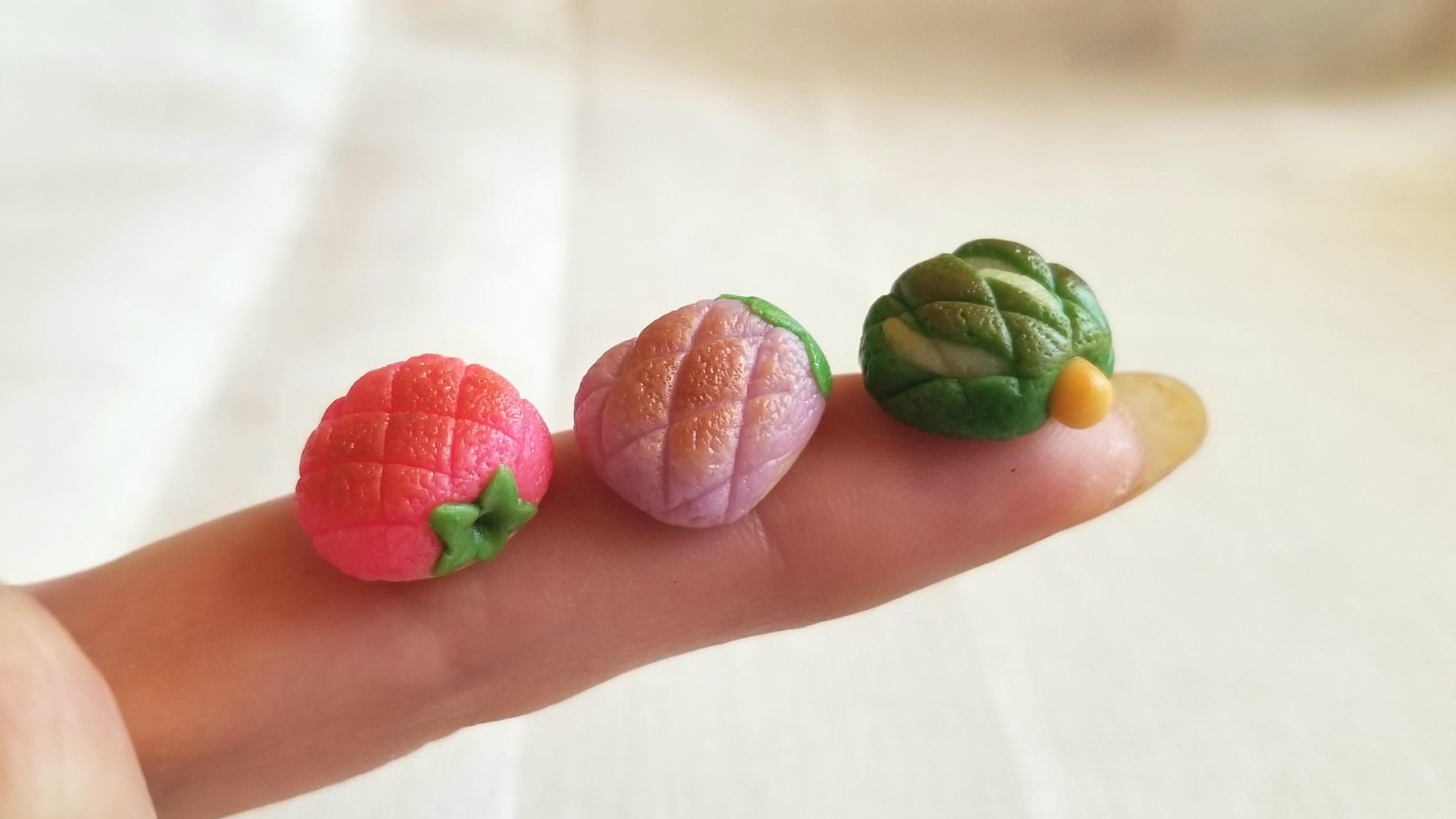 ミニチュア,トマト,なずび,かぼちゃ,美味しい野菜メロンパン樹脂粘土