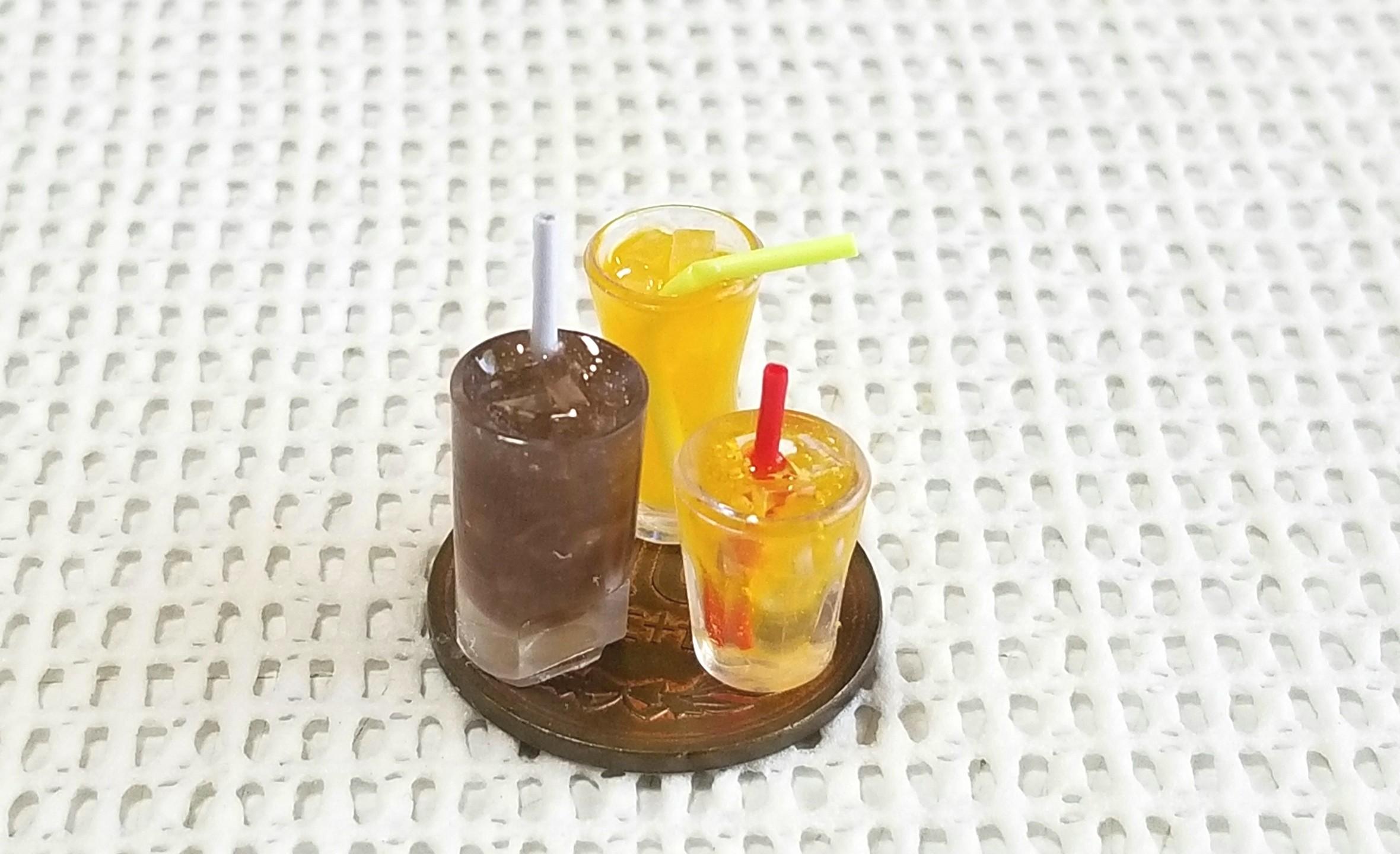 ミニチュア, 飲み物, コーラ, オレンジジュース, UVレジン