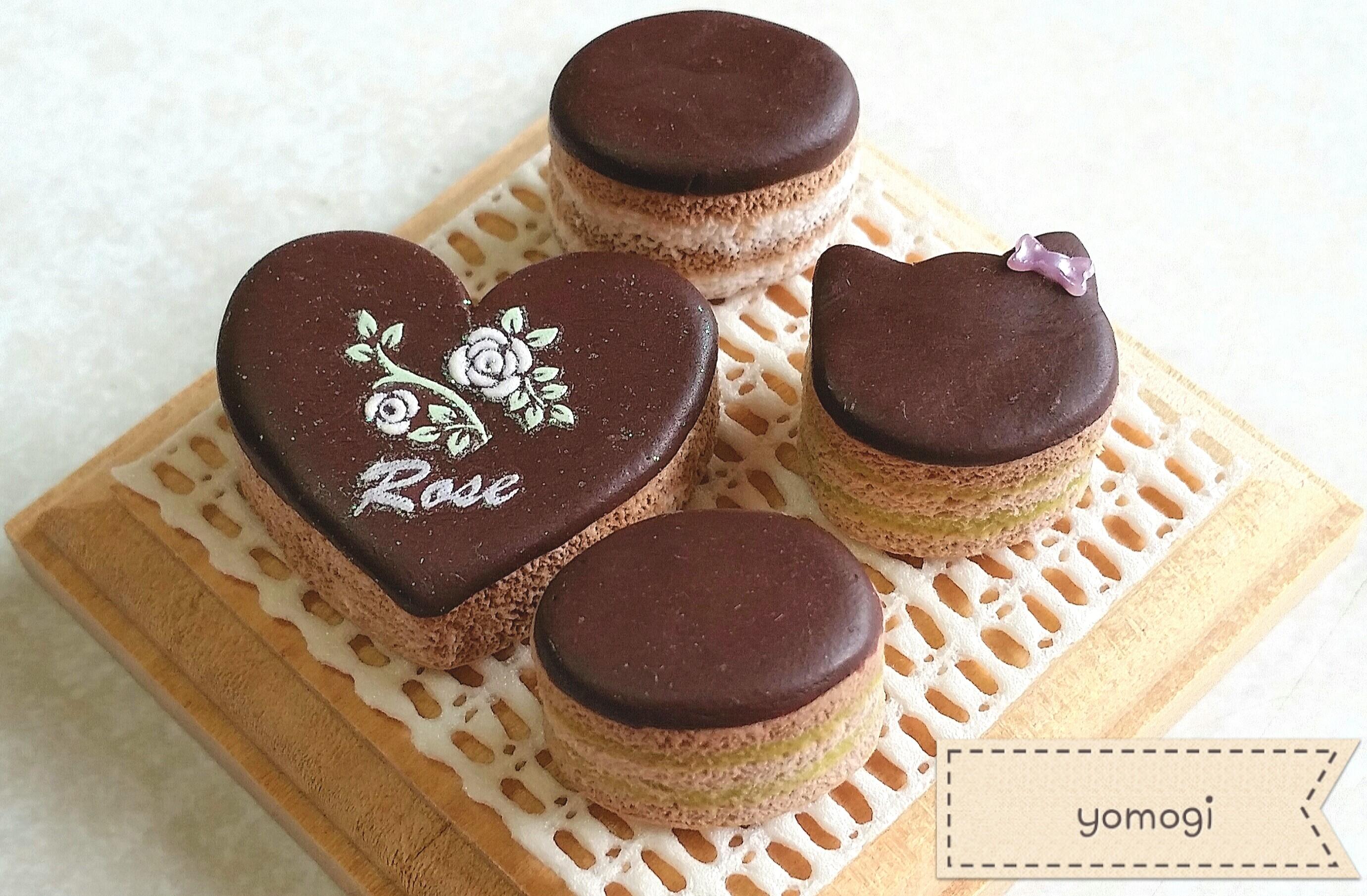 ミニチュアフード,おいしいデザートチョコレートケーキ,紙樹脂粘土