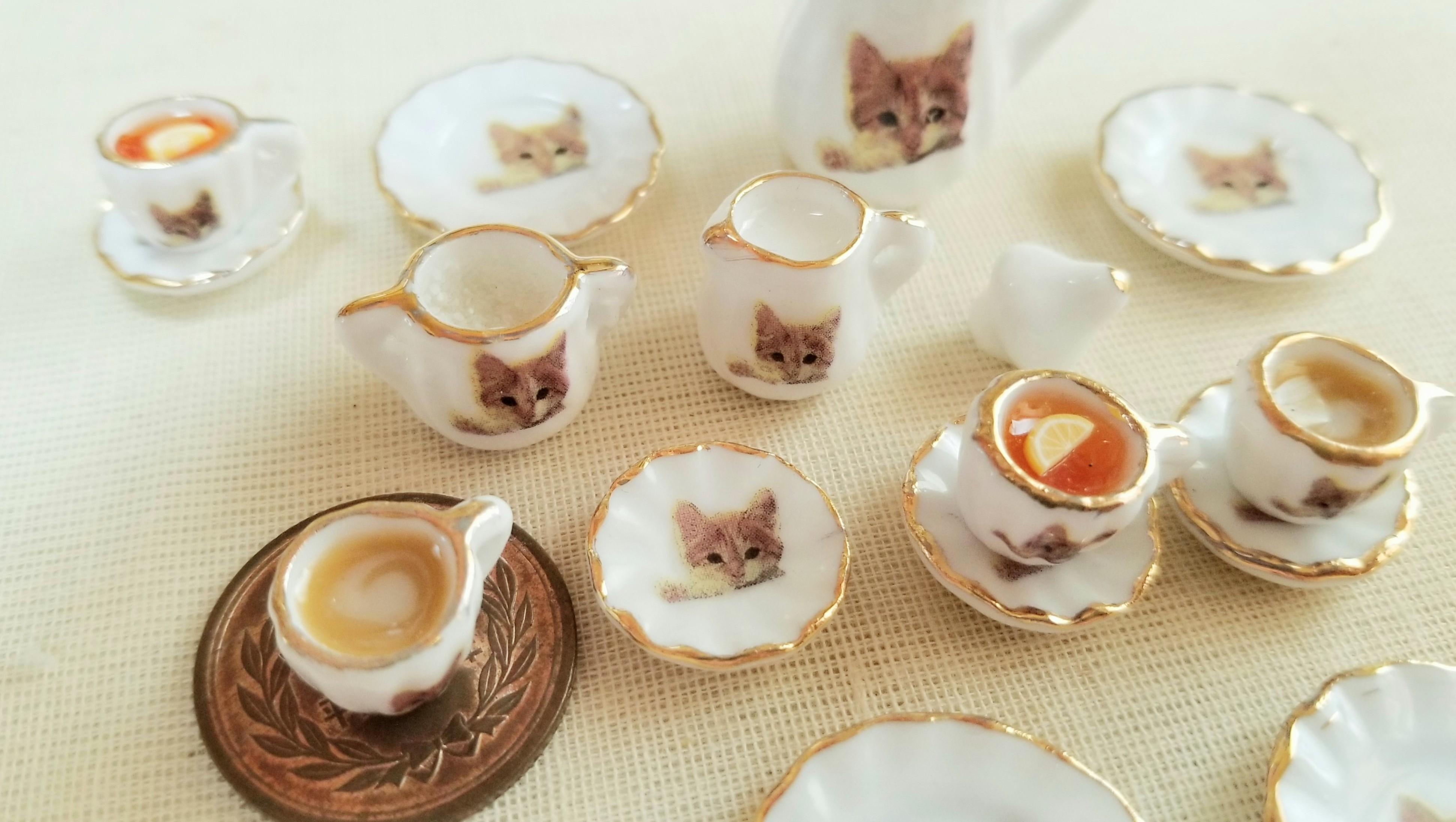 にゃんこ猫柄陶器のティーセット可愛い品のある綺麗なミンネで販売中