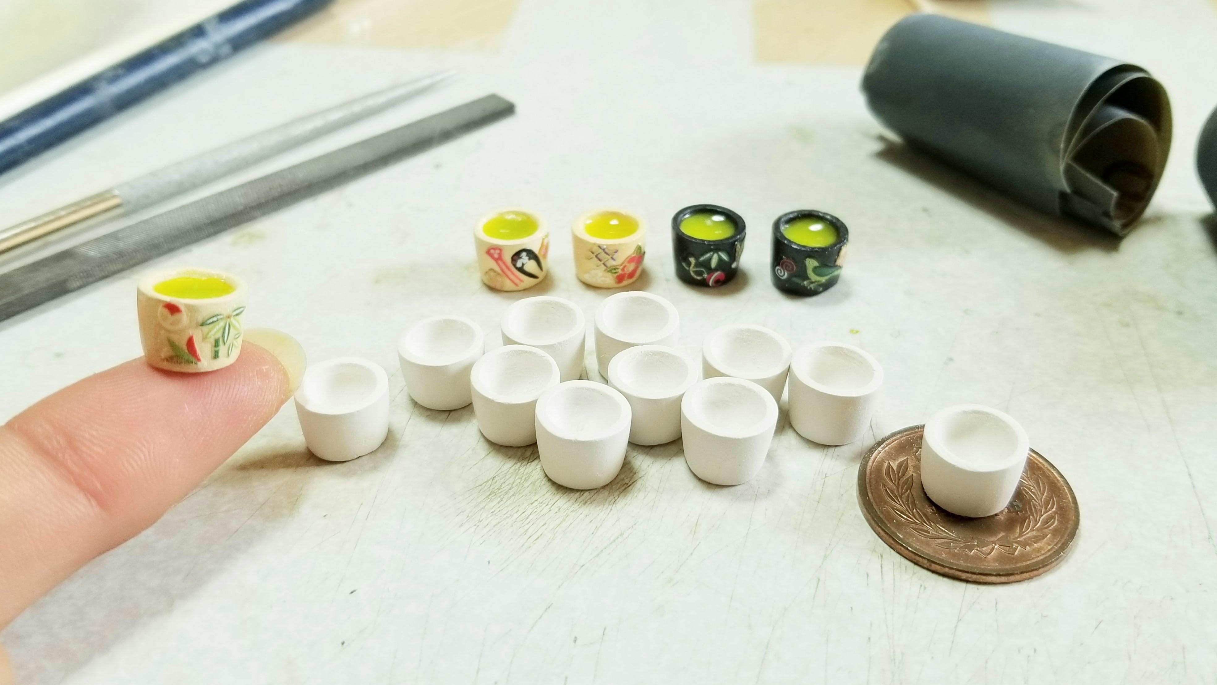 ミニチュアフードの作り方お抹茶石塑粘土アート自作かわいい和風柄