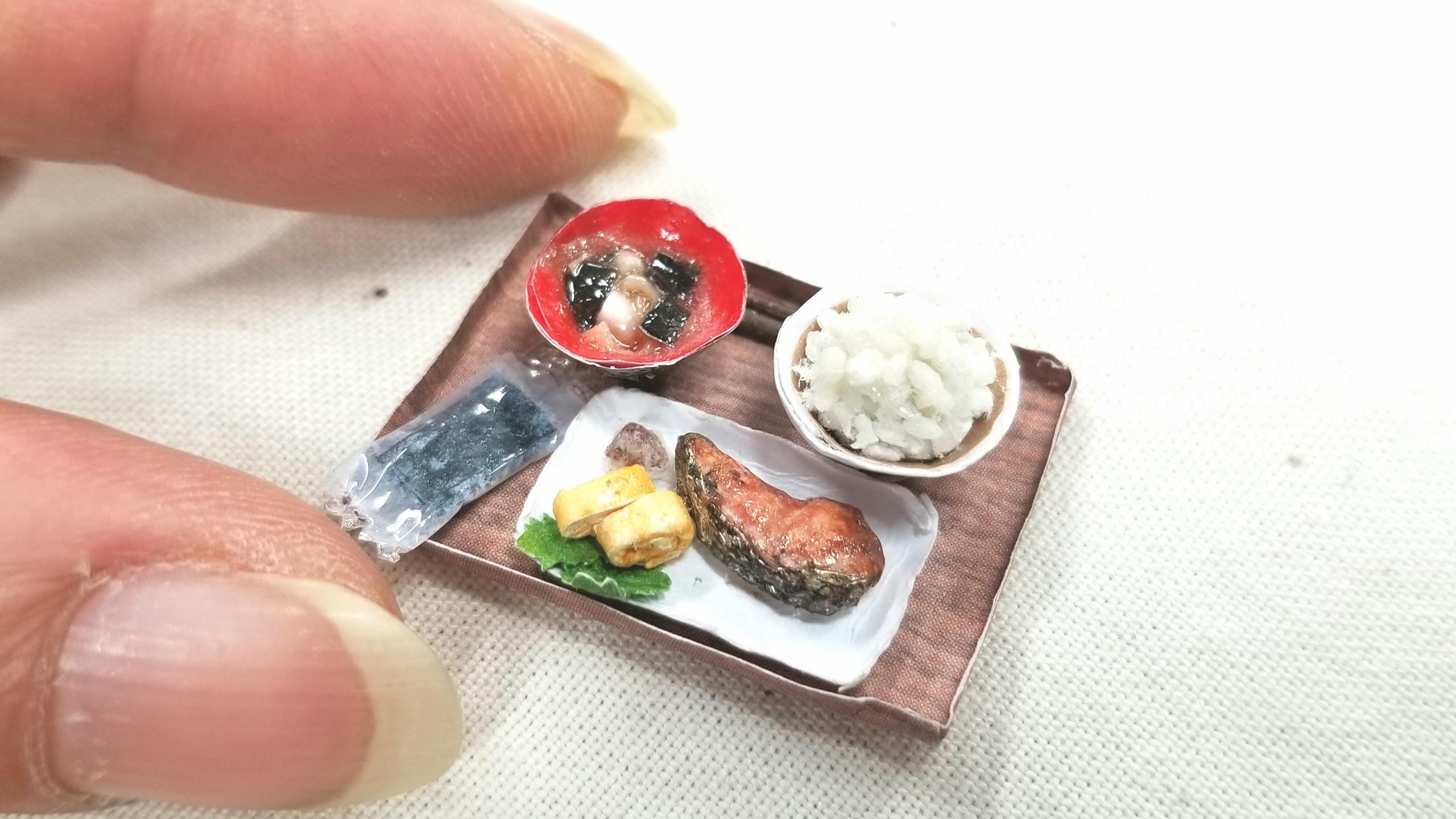 ペーパークラフト,手作紙アート,ミニチュアフード,焼き魚定食,鮭ご飯