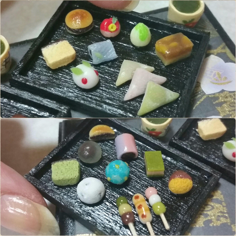 ミニチュアフード,甘味処,和菓子,樹脂粘土,ドール用品,生八ッ橋,団子