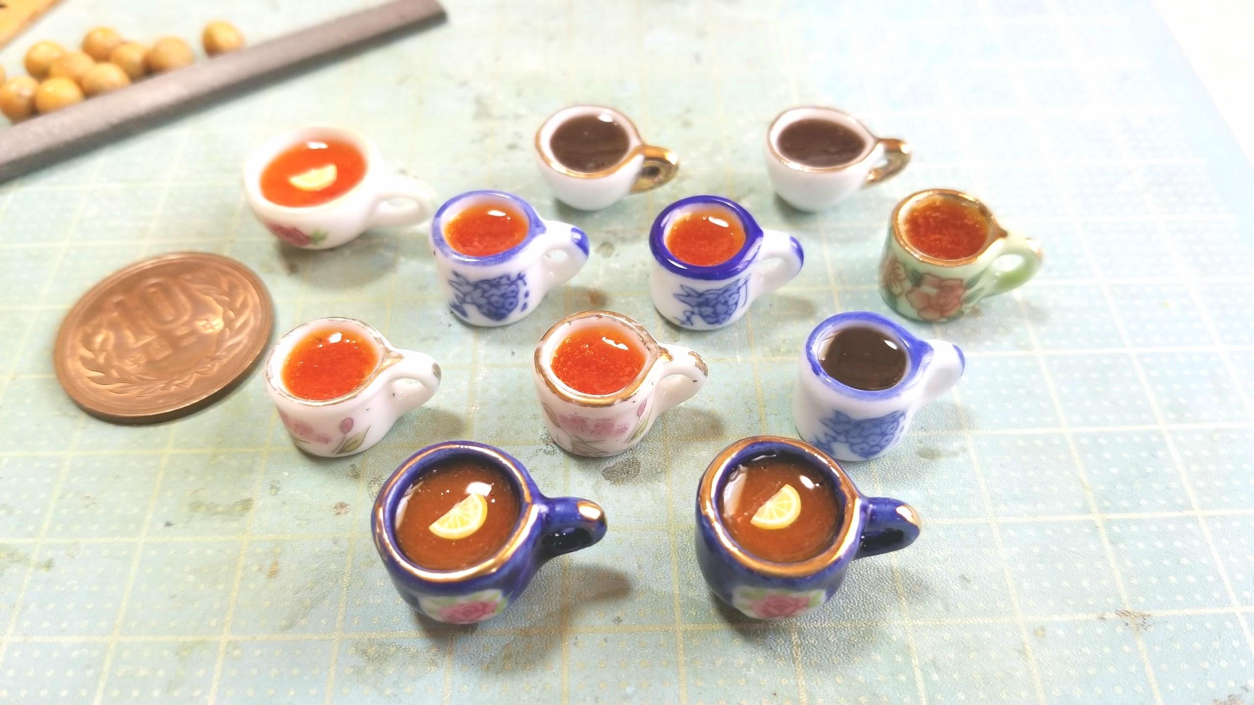 ミニチュア,紅茶,作り方,研究,着色,レジン,ドール,フェイクフード