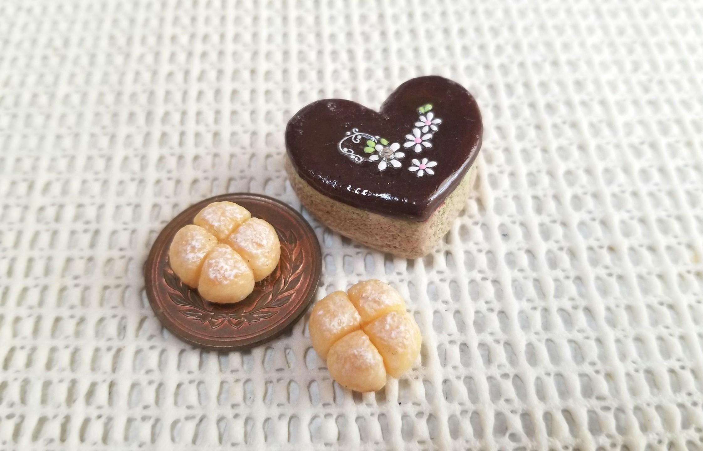 ミニチュア,ちぎりパン,ハートのチョコレートケーキ,樹脂粘土