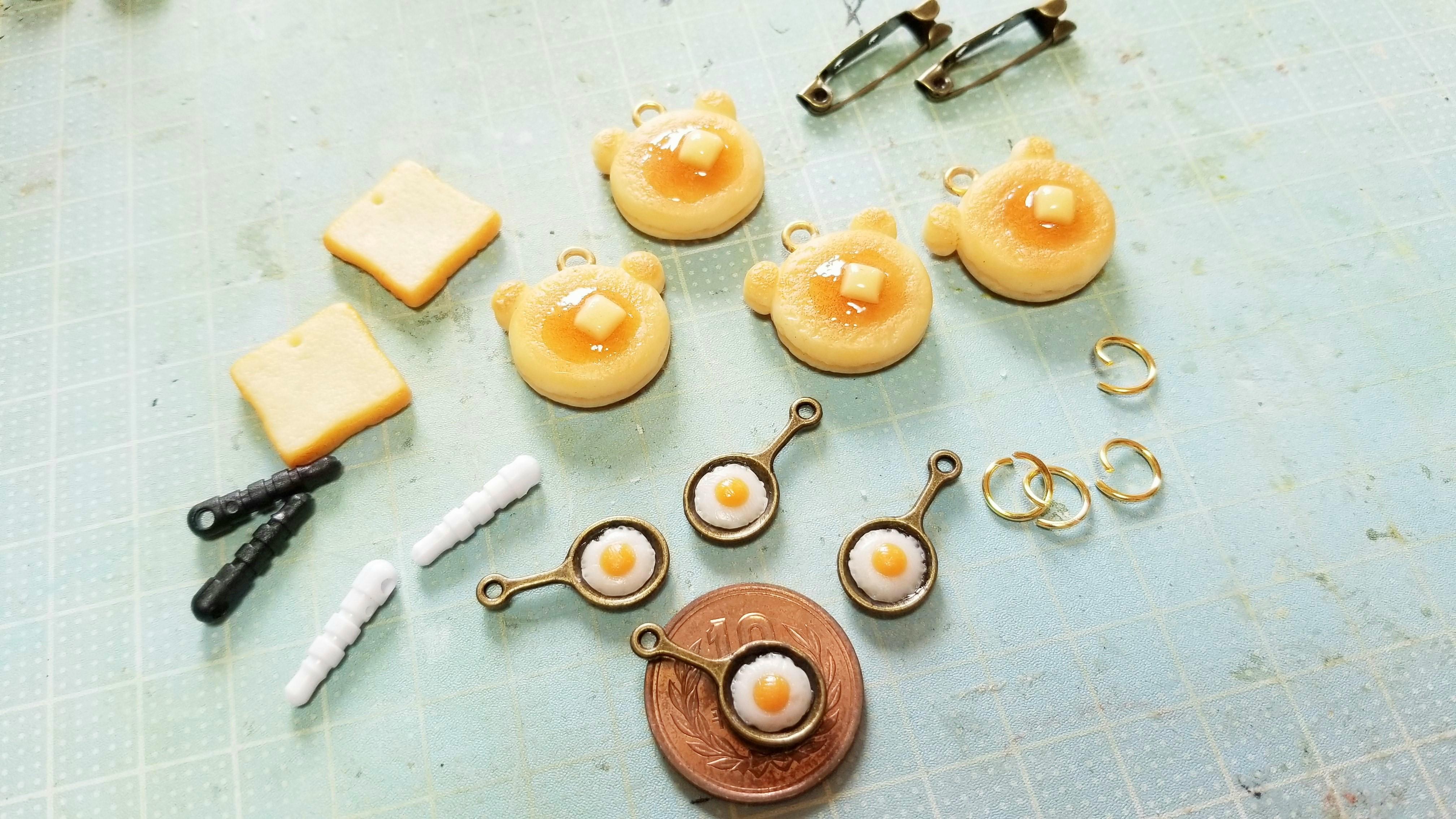 ミニチュアフード樹脂粘土ホットケーキパンかわいい小物ハンドメイド