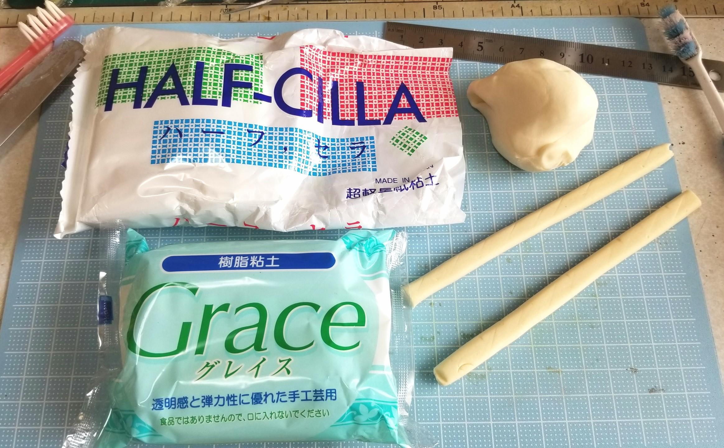 ミニチュアフード,ハーフセラ,紙粘土,樹脂粘土,グレイス,和菓子
