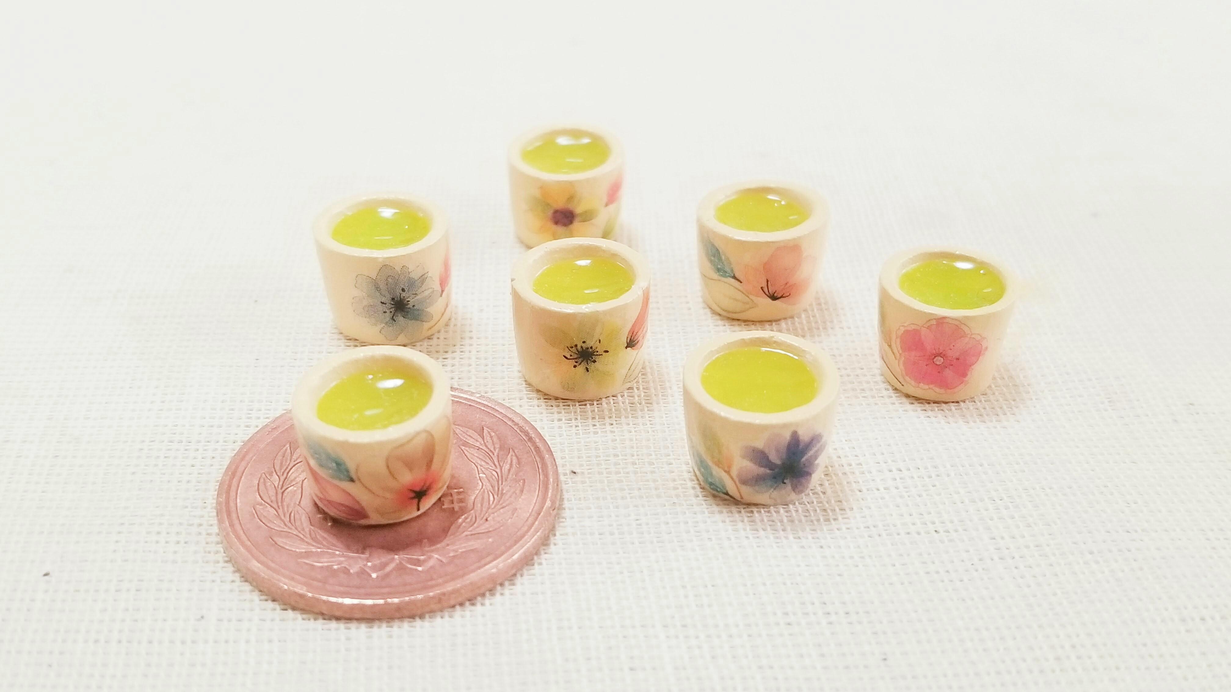 ミニチュアフード可愛い小物和風花柄飲み物ドリンクお茶作り方ブログ