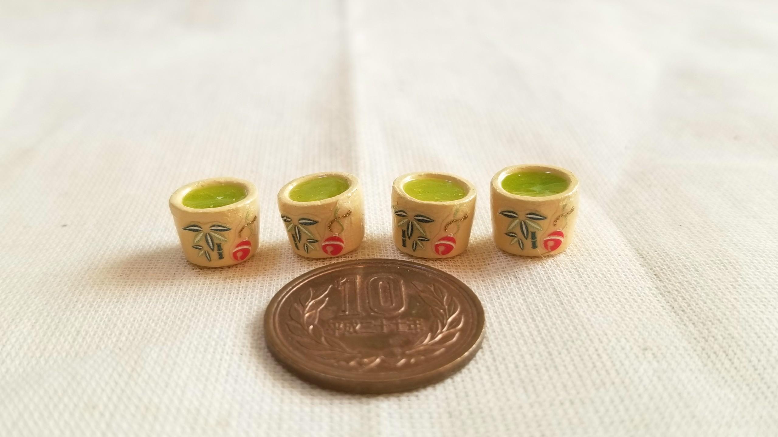 抹茶,レジン,竹椿柄,ミニチュア,リカちゃん,バービー人形,ドール