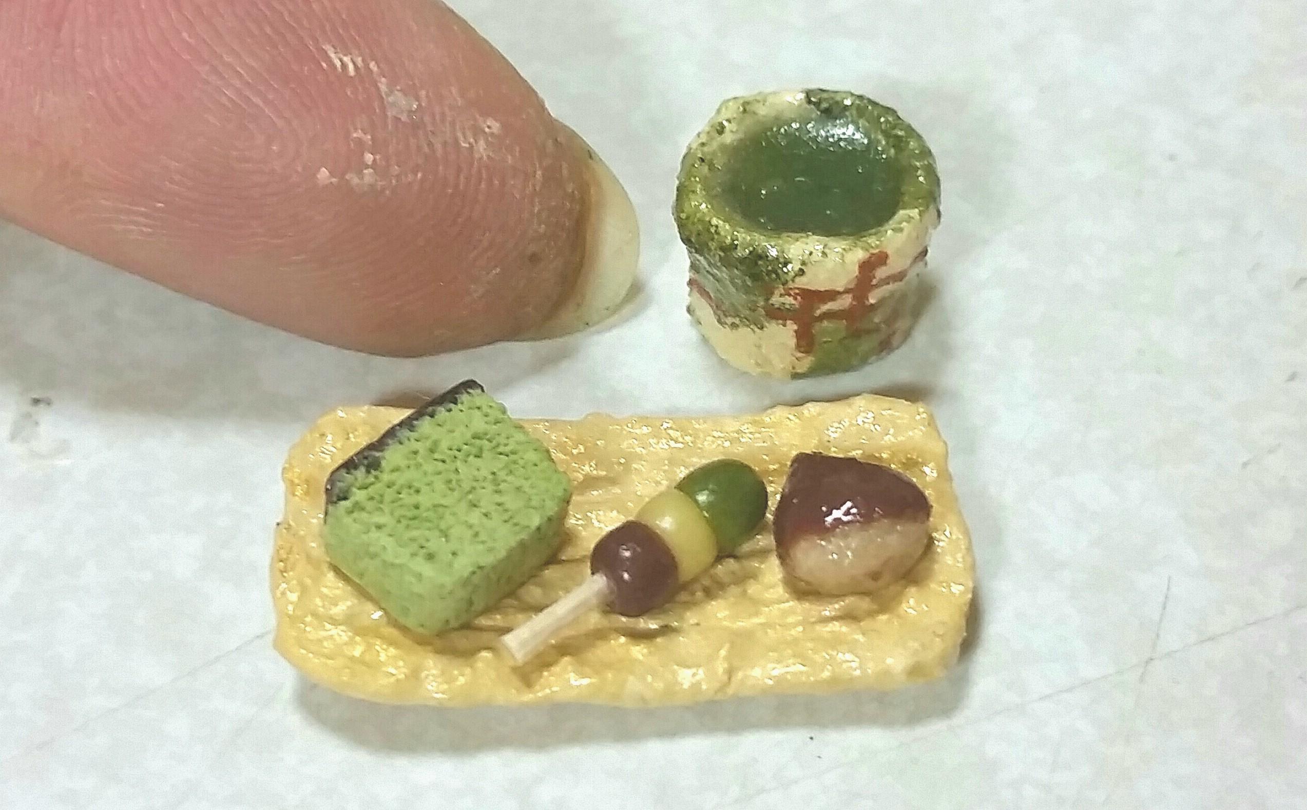 和菓子,甘味,抹茶カステラ,お団子,栗饅頭,ミニチュアフード,ドール用