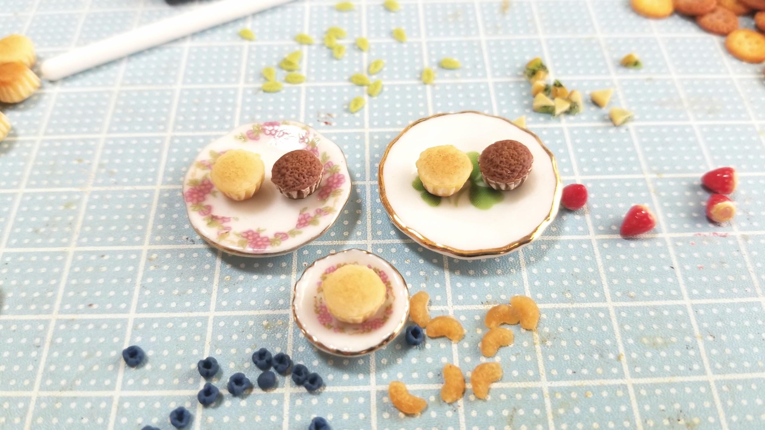 カップケーキ,ミニチュア,ドールハウス,樹脂粘土,製作過程,食品