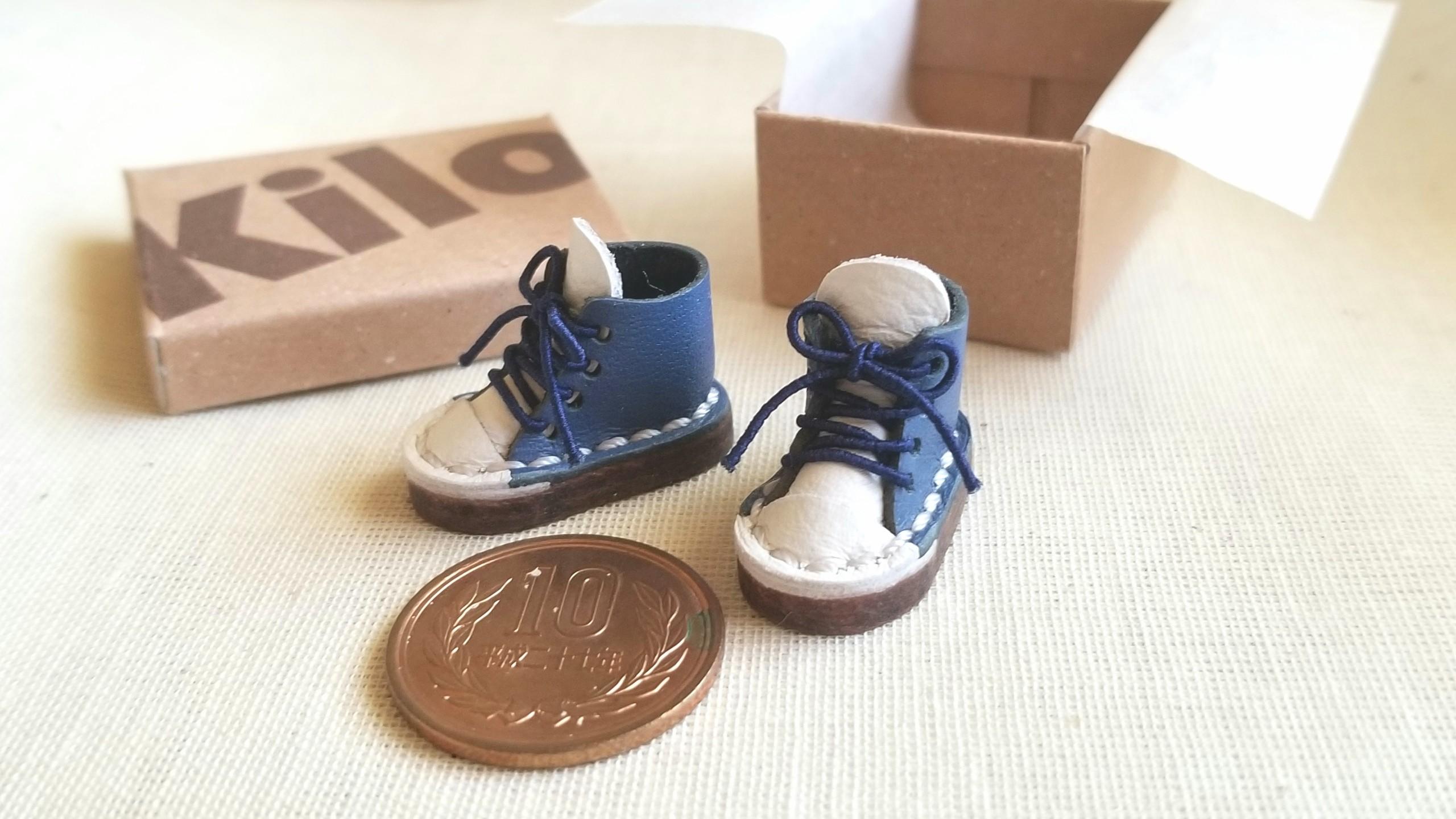 ミニチュア靴,ドール用小物,本皮スニーカー,kilo工房,ミンネで購入品