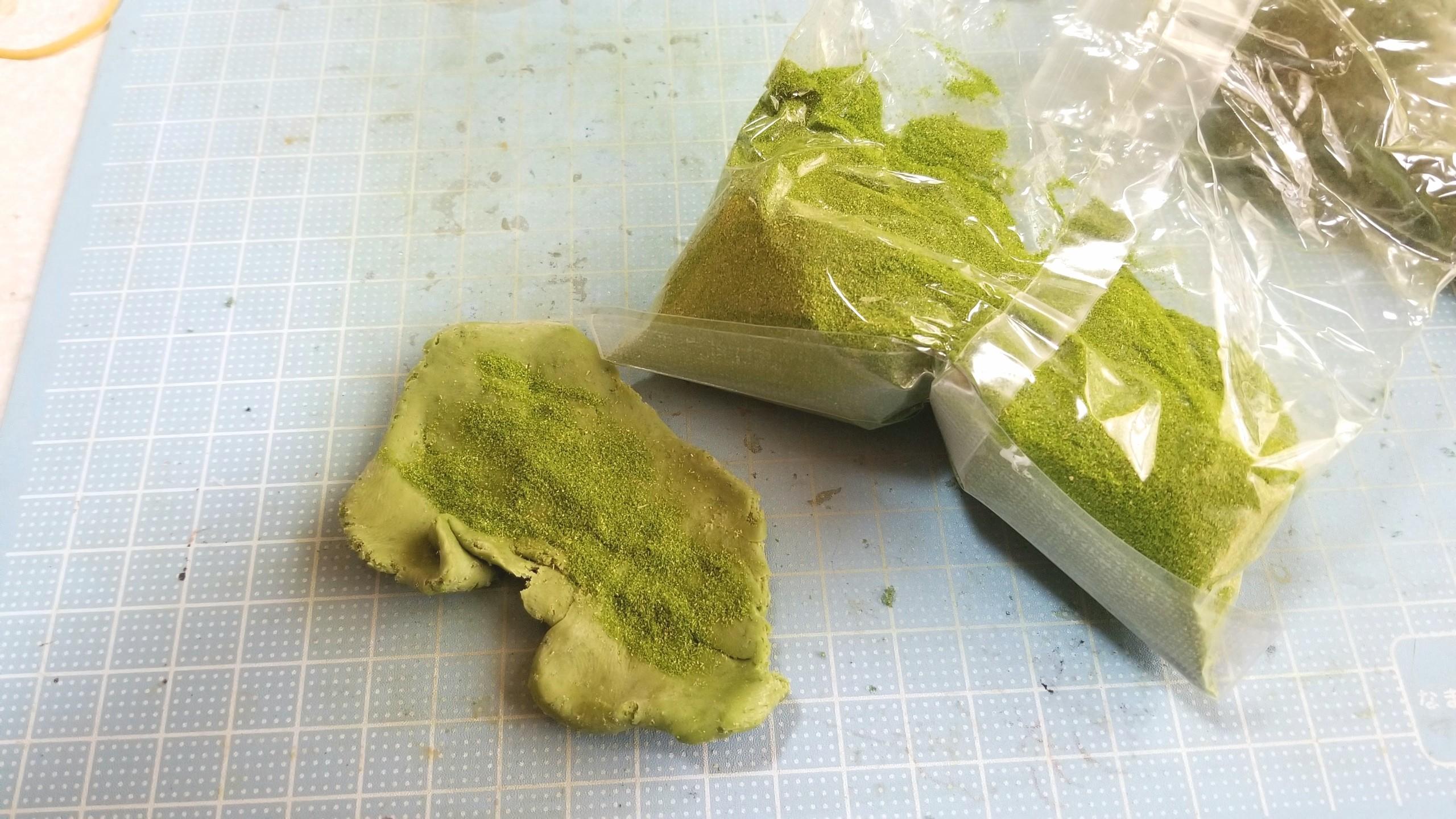 よもぎ草餅,作り方,ミニチュアフード,樹脂粘土,フェイクフード