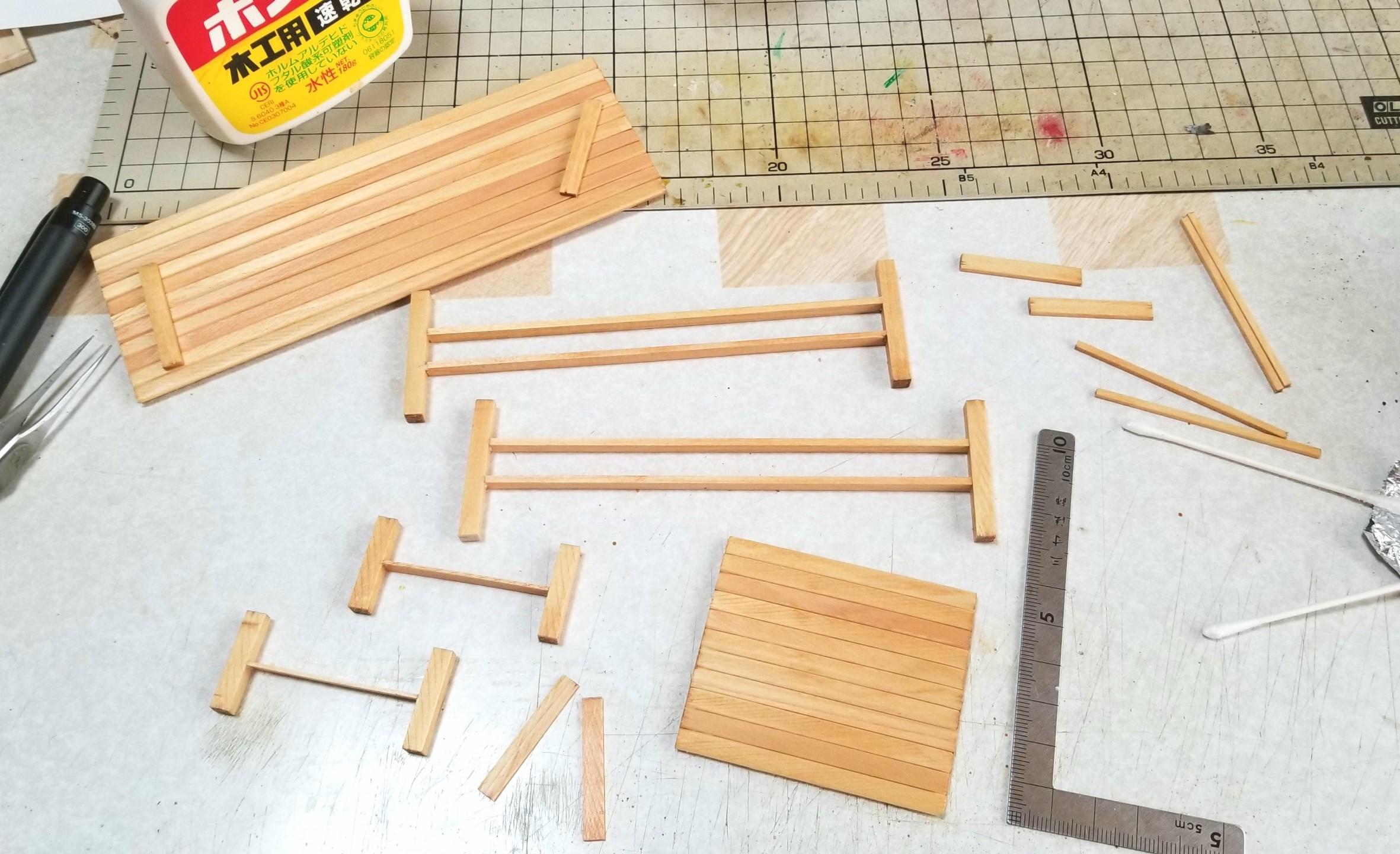 ミニチュア,長椅子,テーブル,和菓子屋,作り方,机,DIY,オイルステイン