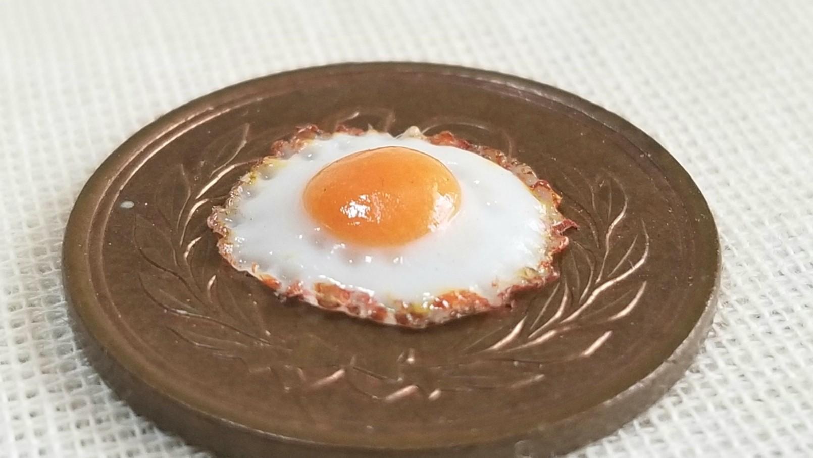 美味しそうな目玉焼き,美味しい,リアルな,ミニチュア,樹脂粘土